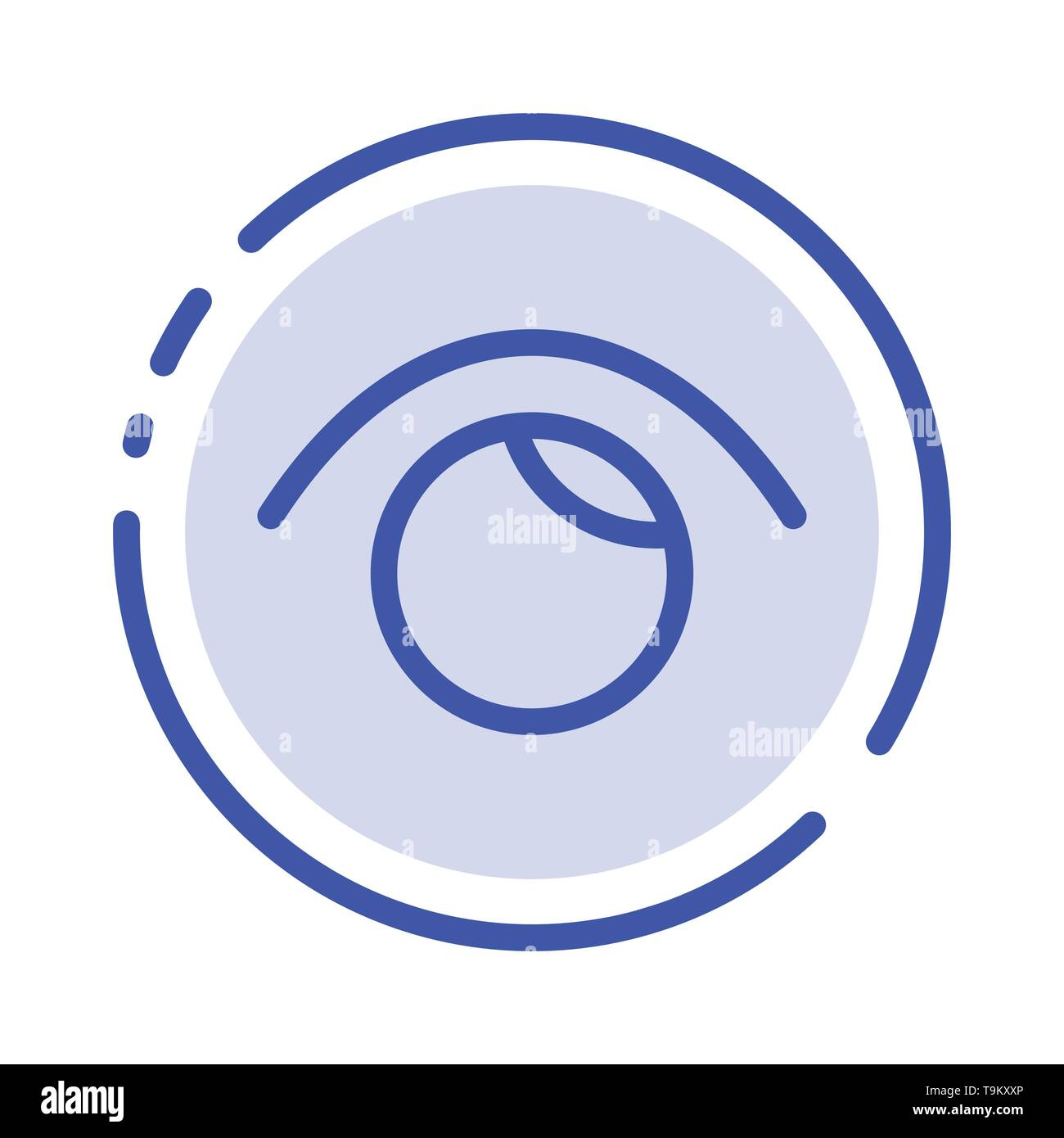 Eye, View, Watch, Twitter Blue Dotted Line Line Icon - Stock Image