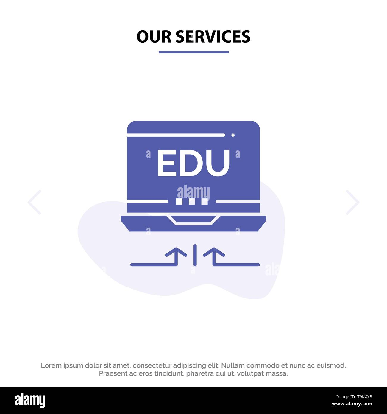 Our Services Laptop, Hardware, Arrow, Education Solid Glyph Icon Web card Template - Stock Image
