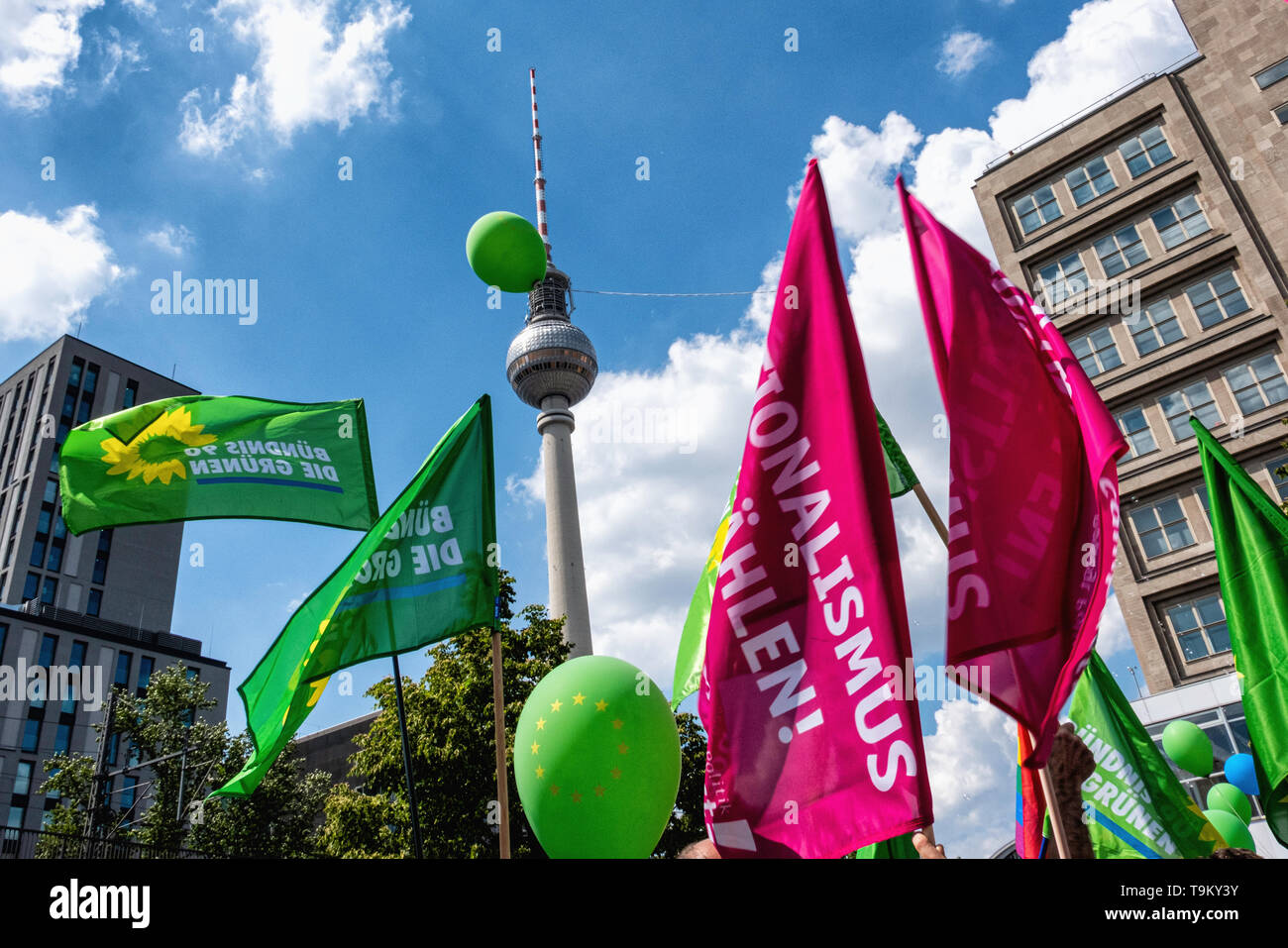 """Germany, Berlin, Mitte, 19th May 2019. """"One Europe for All' Demonstration - people gathered at Alexanderplatz as part of a Nationwide demonstration to promote solidarity in Europe in a run up to the upcoming European Elections. The Demo was organised by NGOs including Campact, Pro Asyl, Attac, Mehr Demokratie and Naturfreunde, the Seebrücke movement & Paritätischer Wohlfahrtsverband to oppose the racism, hate and resentment against minorities that is stirred up by right-wing activists and policies. Credit: Eden Breitz/Alamy Stock Photo"""
