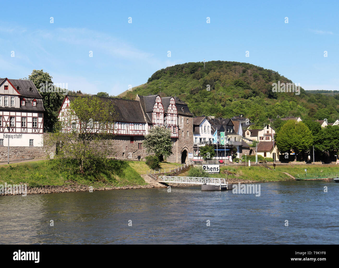 Riverside village of Rhens on the Rhine river in Germany Stock Photo