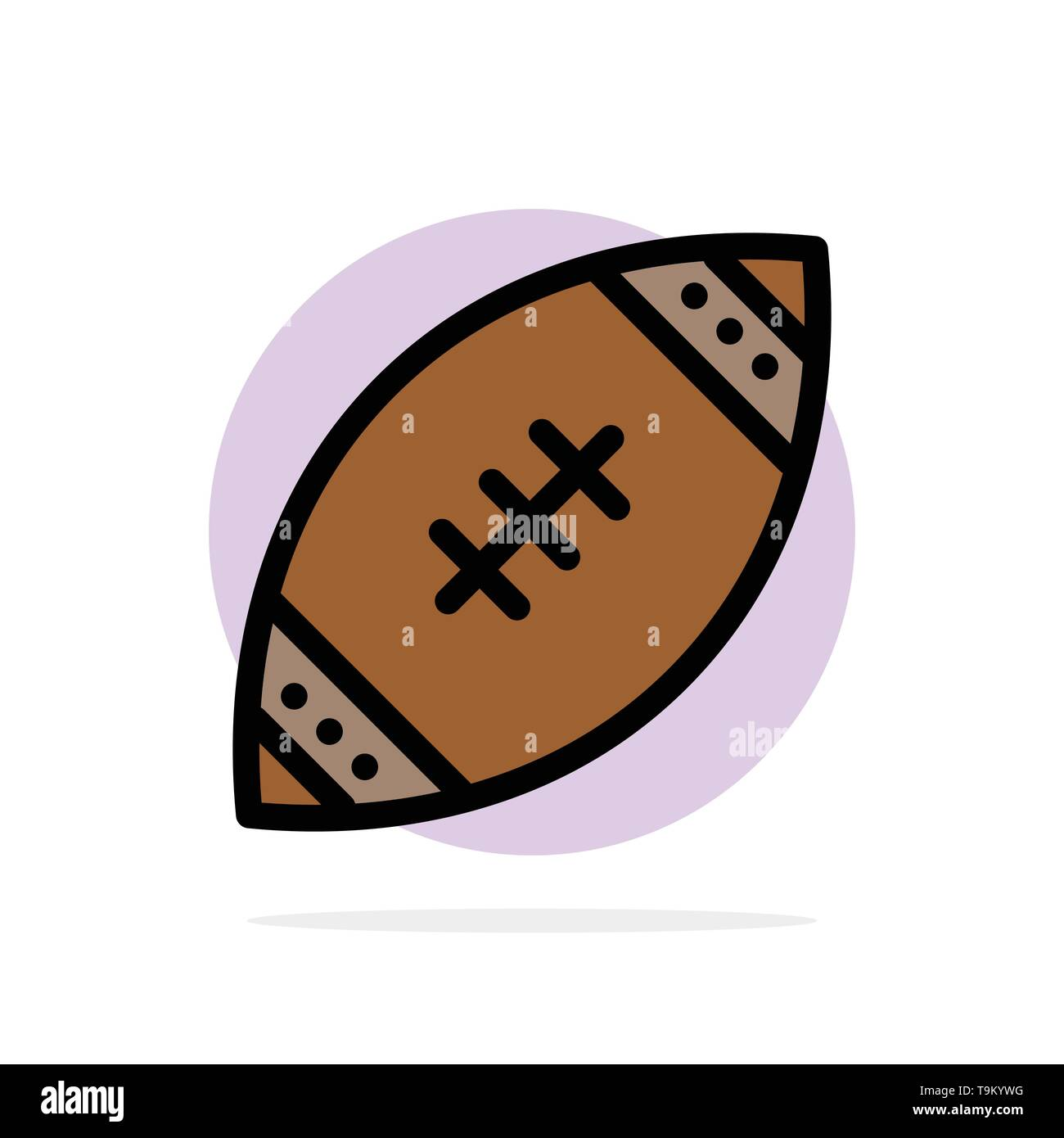 American, Ball, Football, Nfl, Rugby Abstract Circle Background Flat color Icon - Stock Image