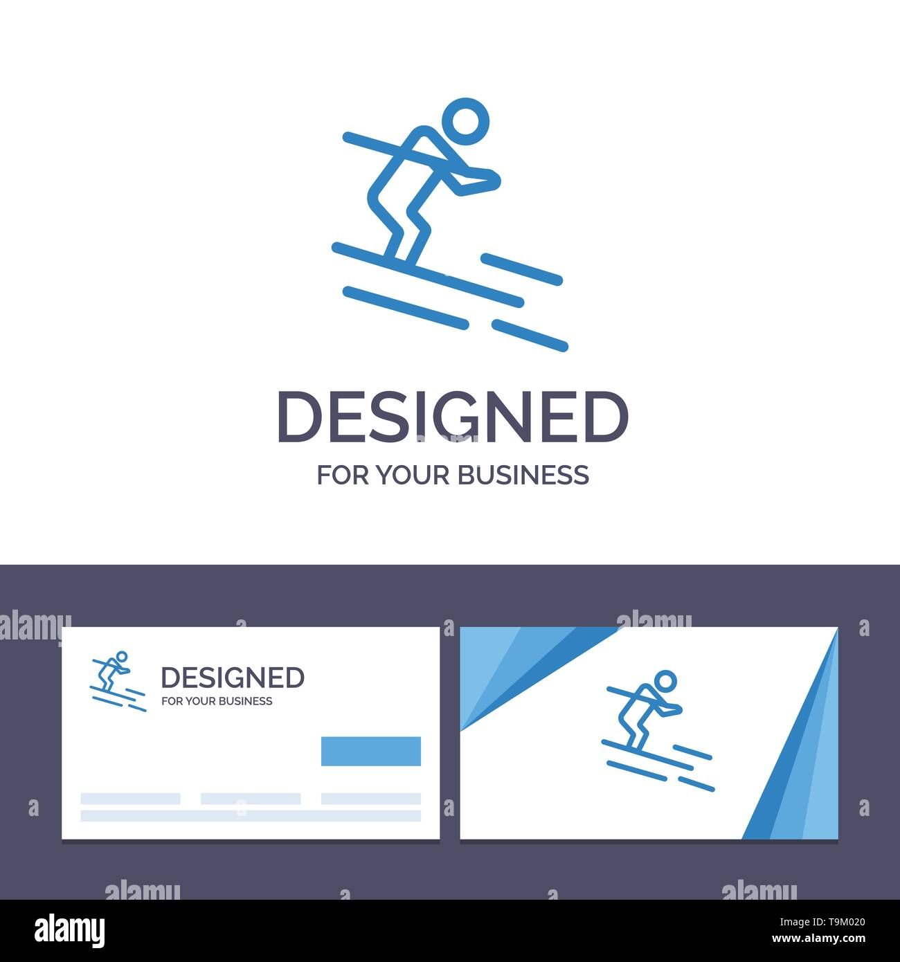 Creative Business Card and Logo template Activity, Ski, Skiing, Sportsman Vector Illustration - Stock Image