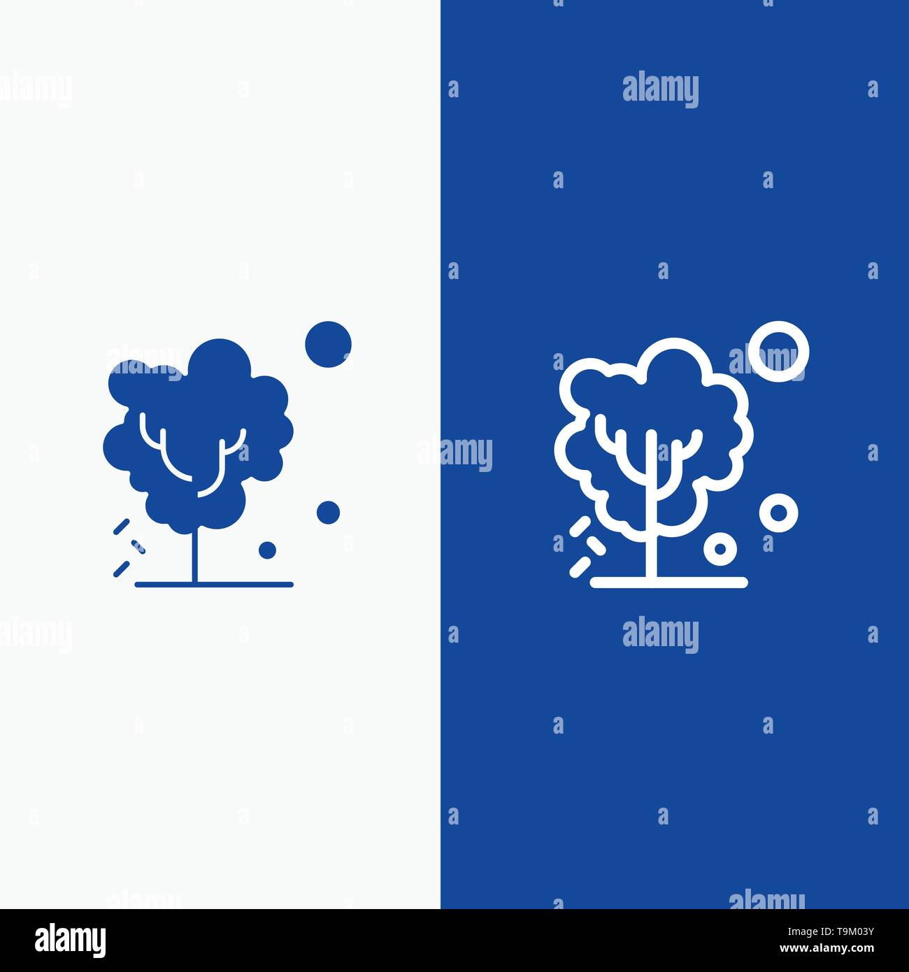 Dry, Global, Soil, Tree, Warming Line and Glyph Solid icon Blue banner Line and Glyph Solid icon Blue banner - Stock Image