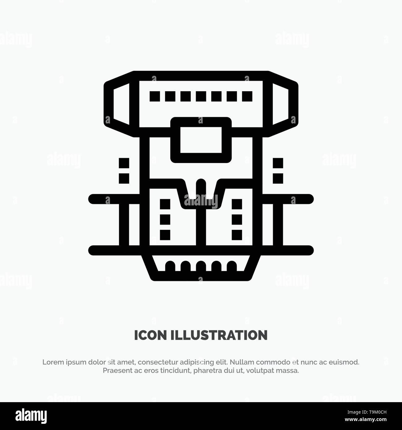 Box, Chamber, Cryogenic, Cryonics, Cryotherapy Line Icon Vector - Stock Image