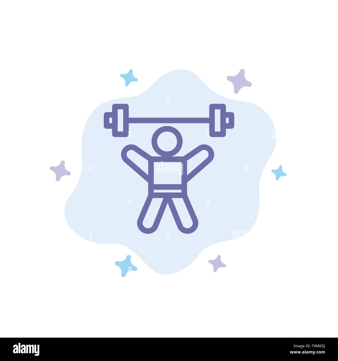 Athlete, Athletics, Avatar, Fitness, Gym Blue Icon on Abstract Cloud Background - Stock Image