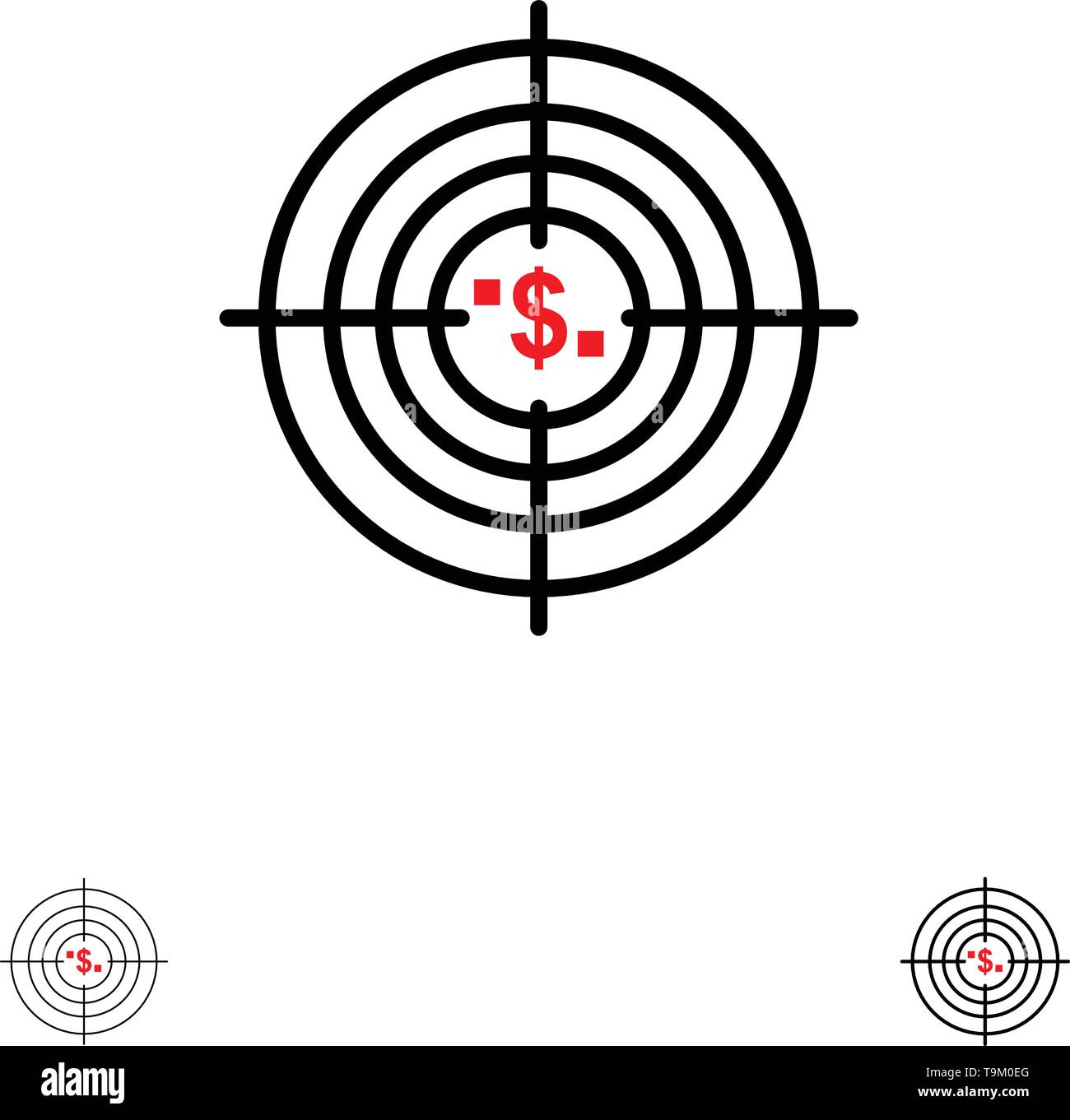 Target, Aim, Business, Cash, Financial, Funds, Hunting, Money Bold and thin black line icon set - Stock Image