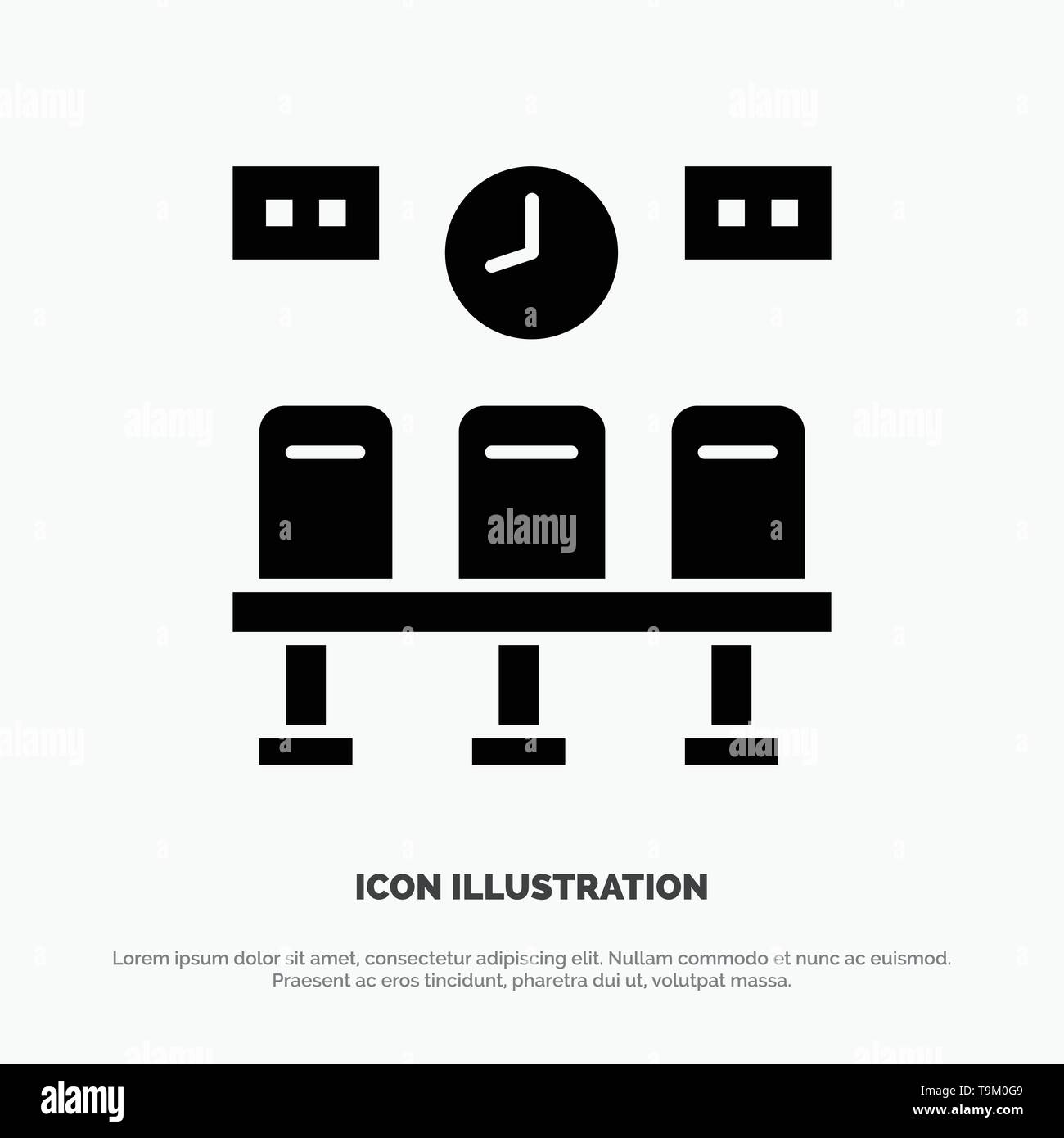 Seats, Train, Transportation, Clock solid Glyph Icon vector - Stock Image