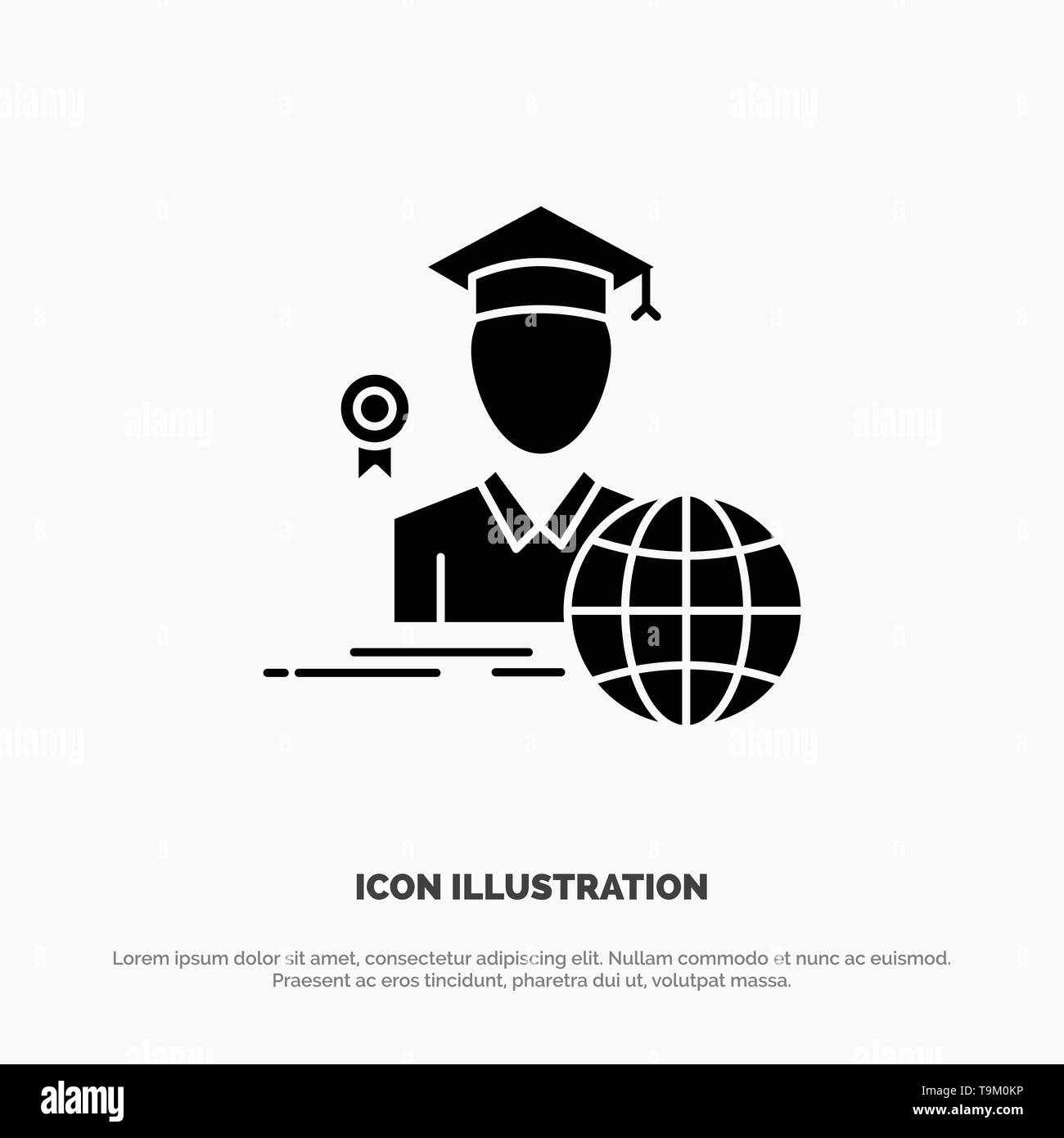 Graduation, Avatar, Graduate, Scholar solid Glyph Icon vector - Stock Vector