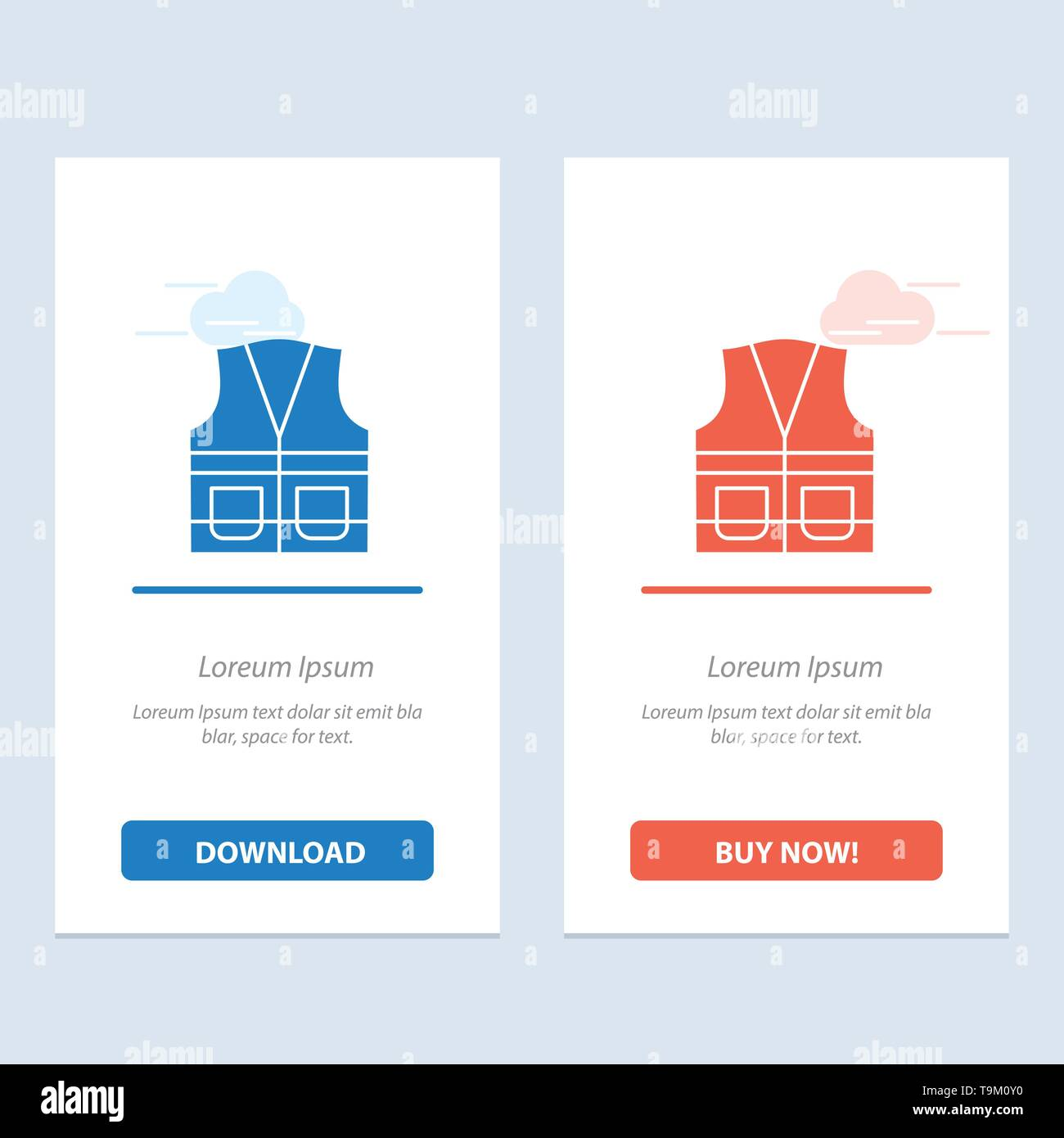 Vest, Jacket, Labour, Construction, Repair  Blue and Red Download and Buy Now web Widget Card Template - Stock Image