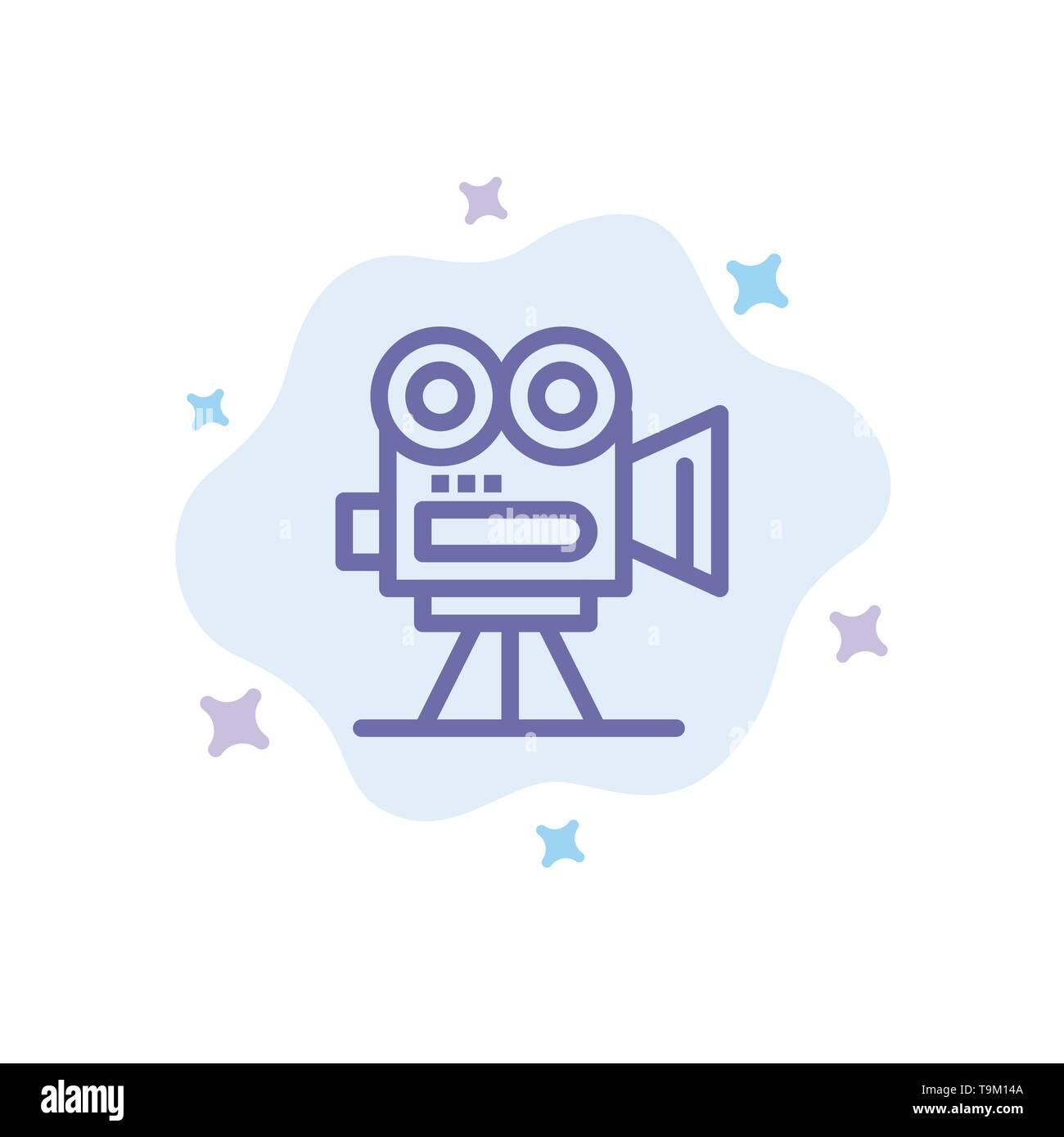 Camera, Capture, Film, Movie, Professional Blue Icon on Abstract Cloud Background - Stock Image