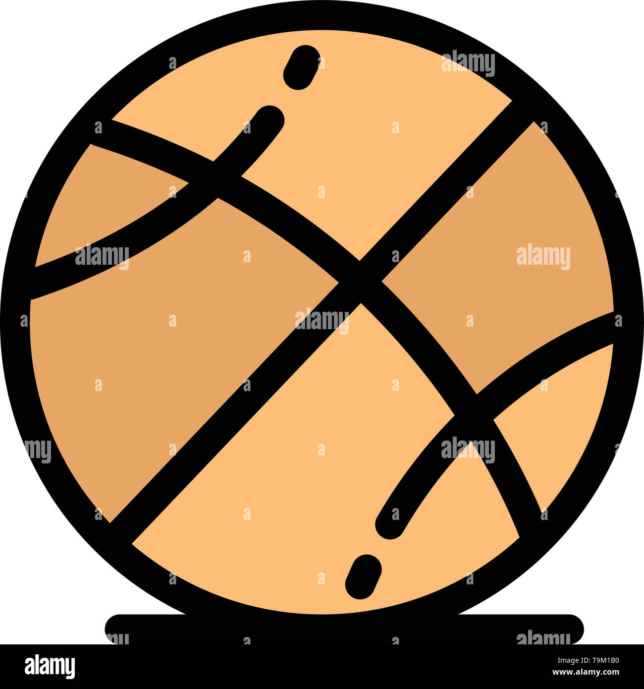 Basketball, Ball, Game, Education  Flat Color Icon. Vector icon banner Template - Stock Image