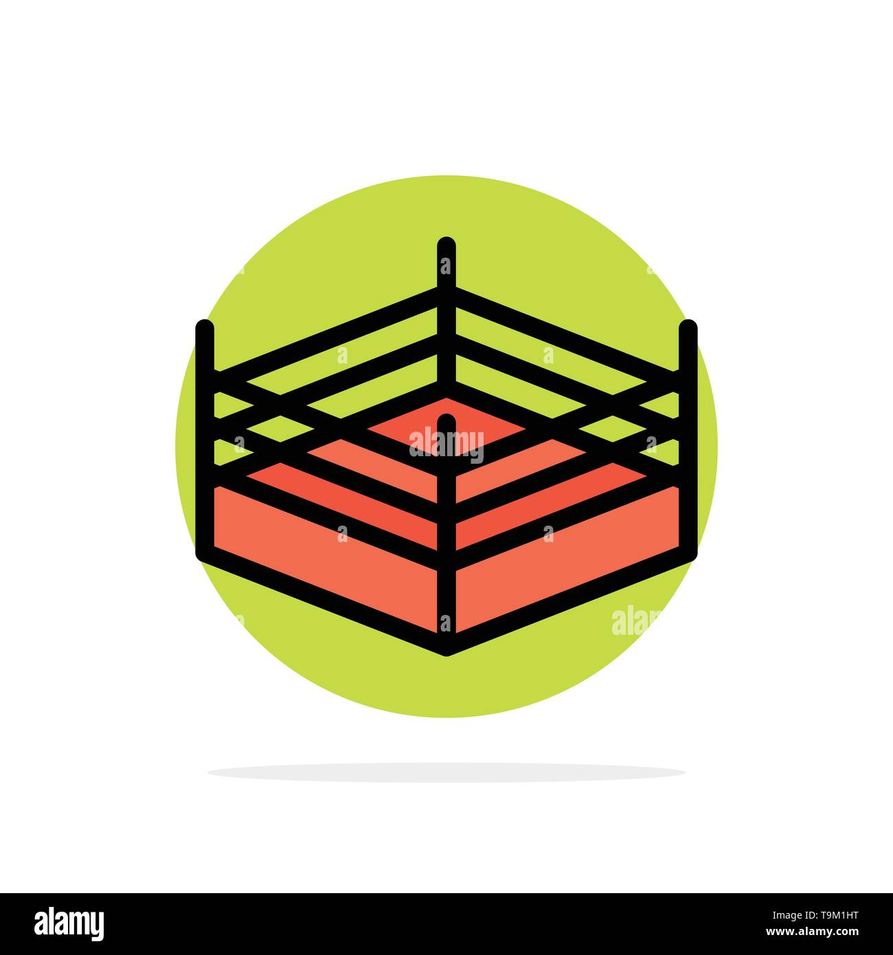 Boxing, Ring, Wrestling Abstract Circle Background Flat color Icon Stock Vector