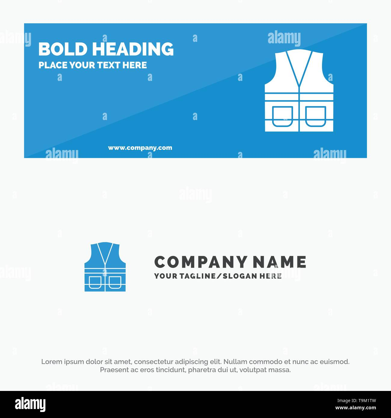 Vest, Jacket, Labour, Construction, Repair SOlid Icon Website Banner and Business Logo Template - Stock Image
