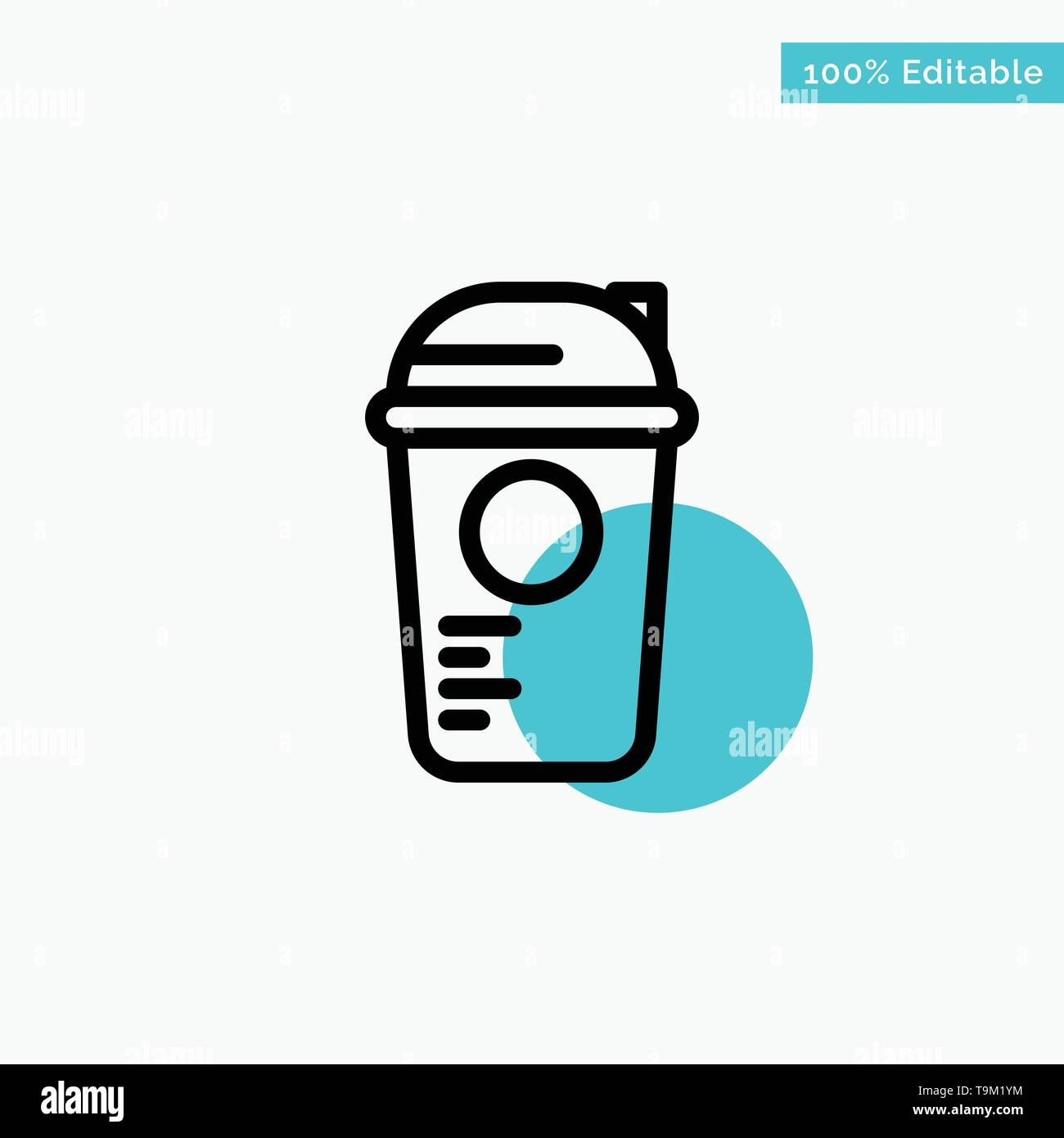 Bottle, Game, Recreation, Sports, Thermo turquoise highlight circle point Vector icon - Stock Image