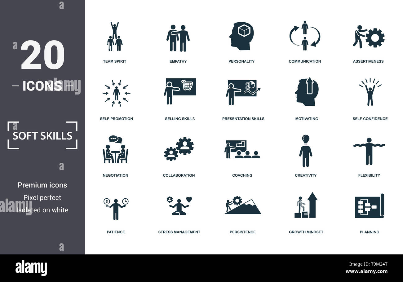 Soft Skills icons set collection. Includes simple elements such as Team Spirit, Empathy, Personality, Communication, Assertiveness, Collaboration and  - Stock Image