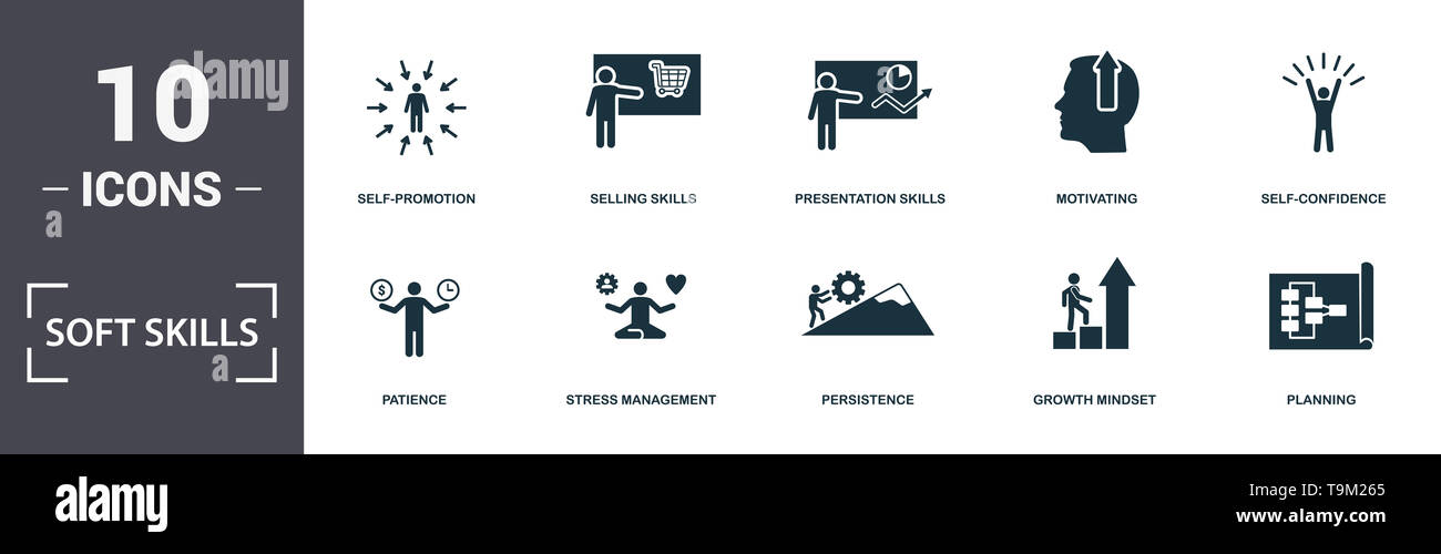Soft Skills icons set collection. Includes simple elements such as Assertiveness, Self-Promotion, Selling Skills, Presentation Skills, Motivating, Pat - Stock Image