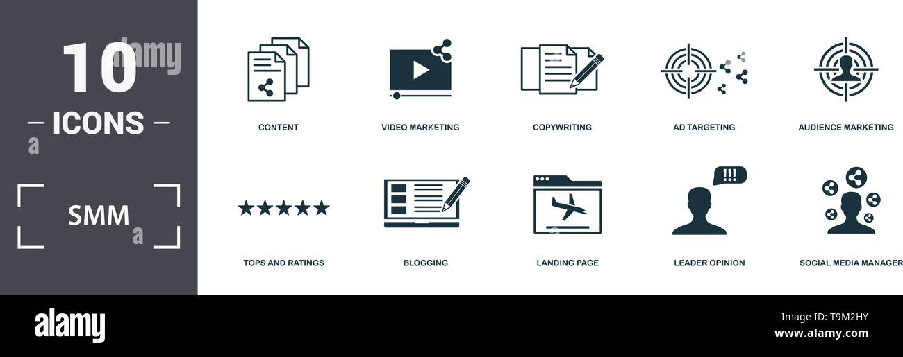 Smm icons set collection  Includes simple elements such as Like