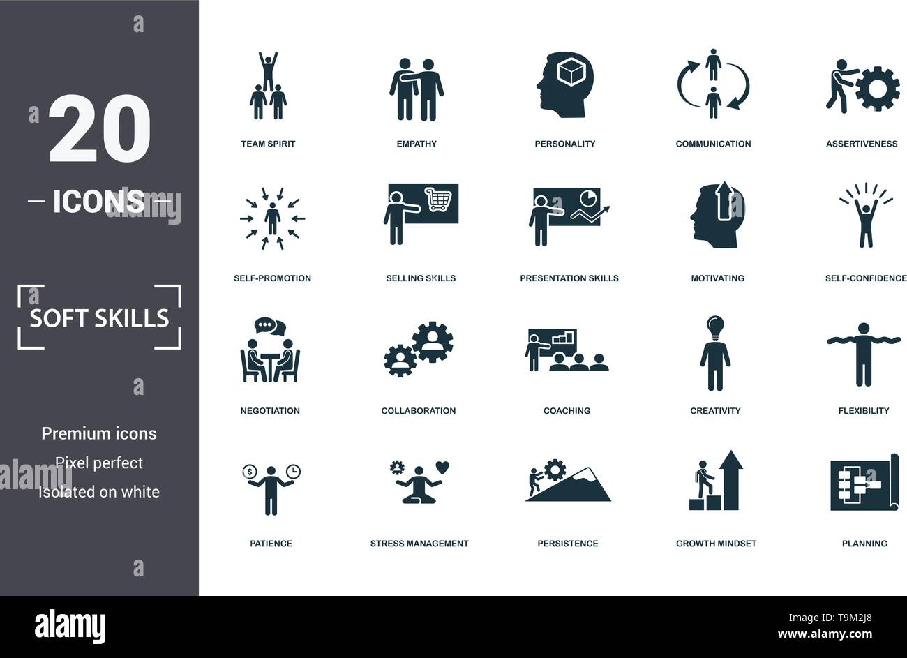 Soft Skills icons set collection. Includes simple elements such as Team Spirit, Empathy, Personality, Communication, Assertiveness, Collaboration and  - Stock Vector
