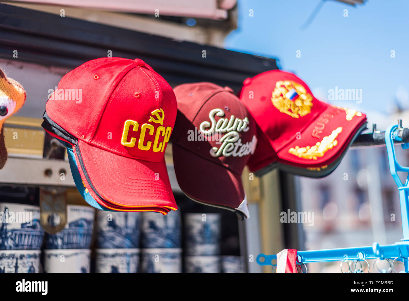 Baseball caps with an inscription CCCP, Russian Federation & Saint Petersburg - Stock Image