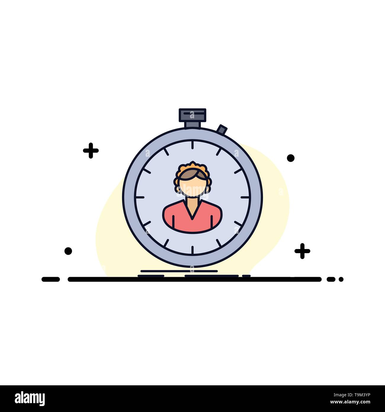 fast, speed, stopwatch, timer, girl Flat Color Icon Vector - Stock Image