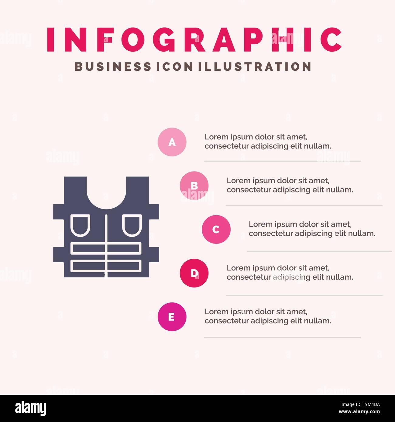 Jacket, Life, Safety Infographics Presentation Template. 5 Steps Presentation - Stock Image
