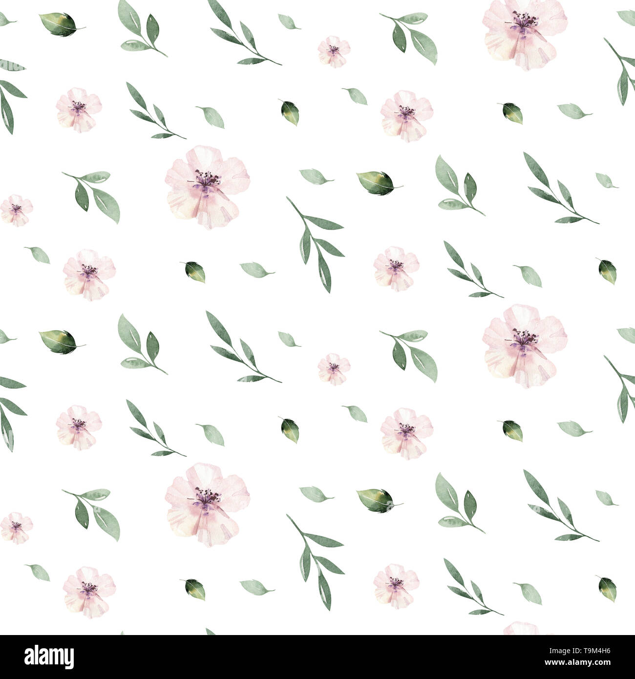 Watercolor Seamless Hand Illustrated Floral Pattern With Floral