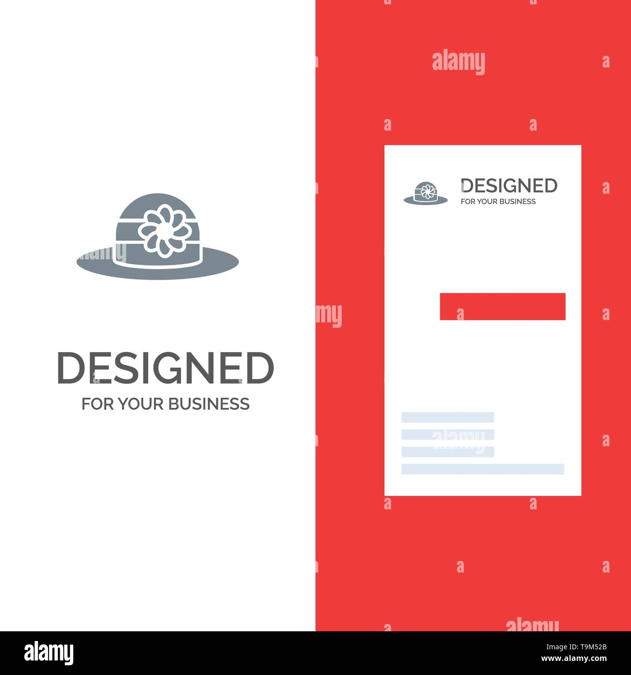 Beach, Hat, Cap Grey Logo Design and Business Card Template - Stock Image