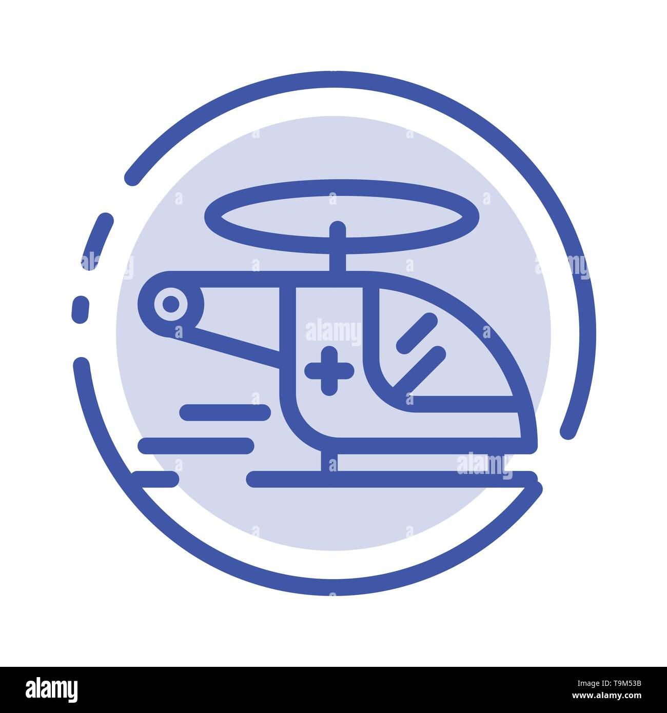 Helicopter, Chopper, Medical, Ambulance, Air Blue Dotted Line Line Icon - Stock Image
