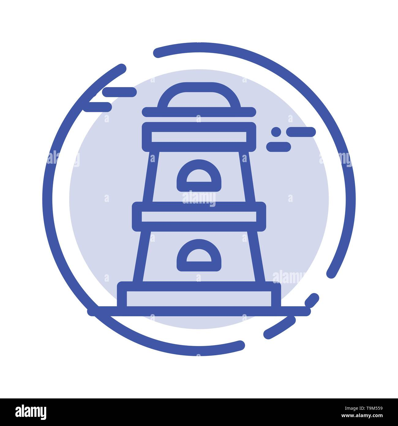 Observatory, Tower, Watchtower Blue Dotted Line Line Icon - Stock Image