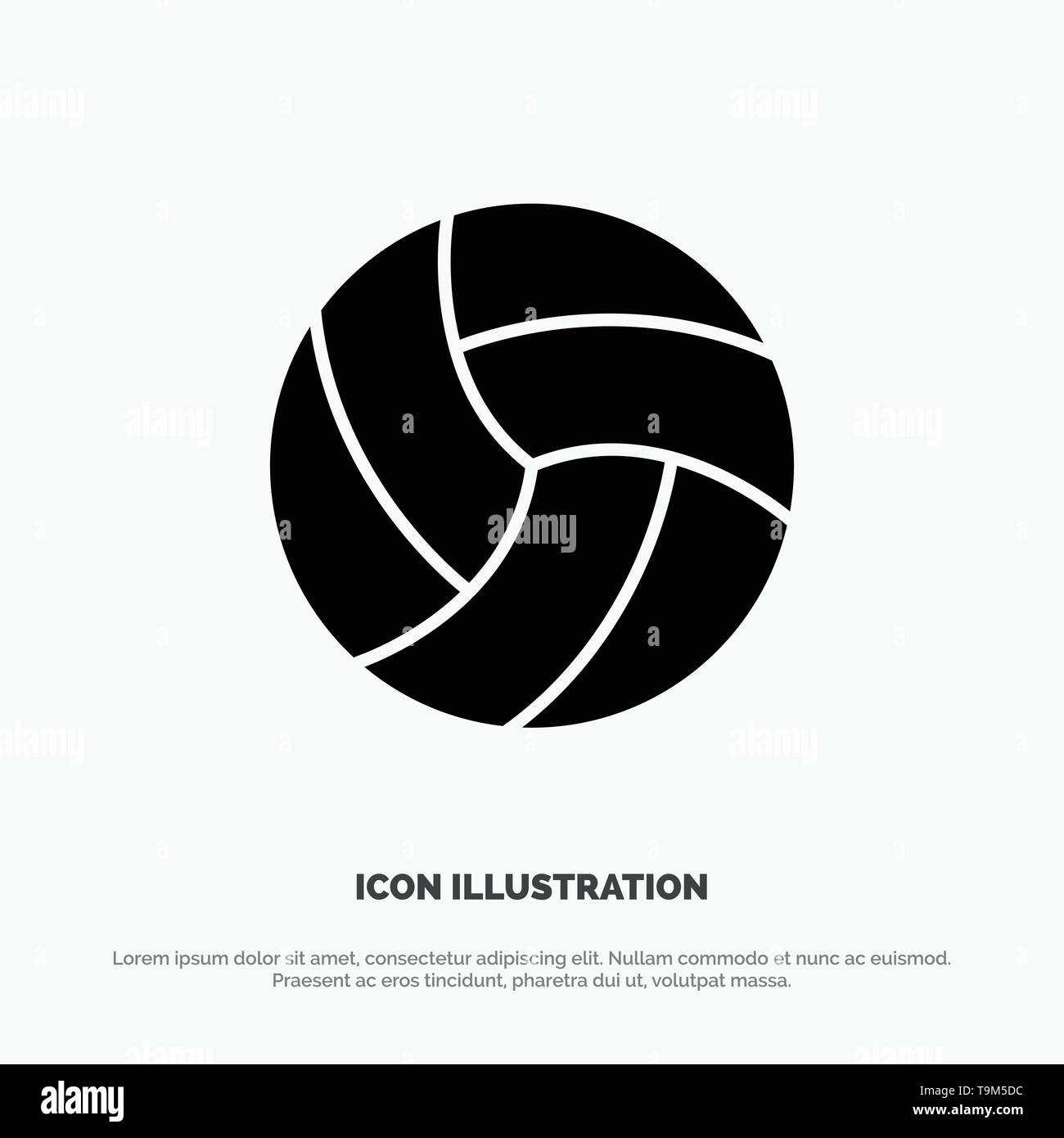 Ball, Volley, Volleyball, Sport solid Glyph Icon vector - Stock Image