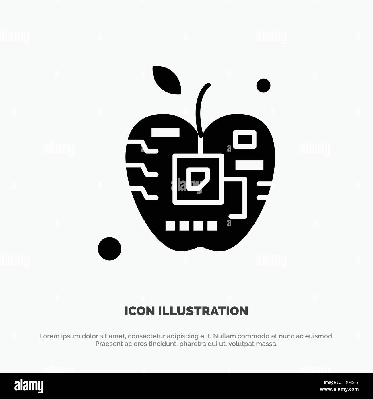 Apple, Artificial, Biology, Digital, Electronic solid Glyph Icon vector - Stock Image