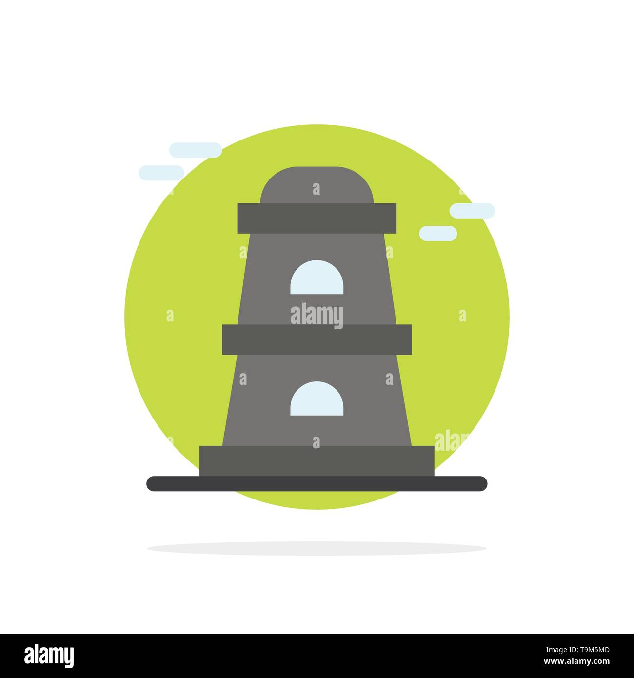 Observatory, Tower, Watchtower Abstract Circle Background Flat color Icon - Stock Vector