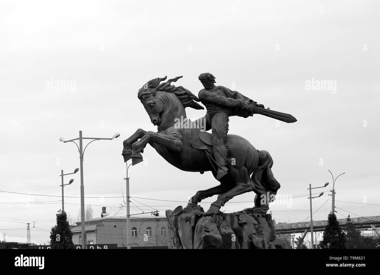 Yervand Kochar. Monument to David of Sasun in Yerevan Armenia - Stock Image