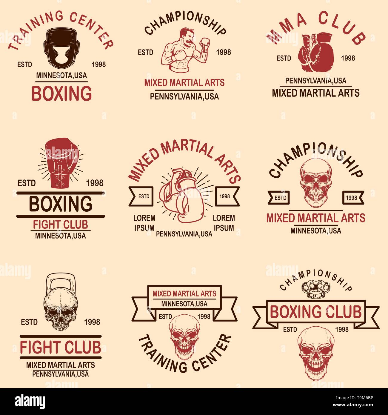 Set of mma and boxing club emblems. Design element for logo, label, sign, poster, t shirt. Vector illustration - Stock Image