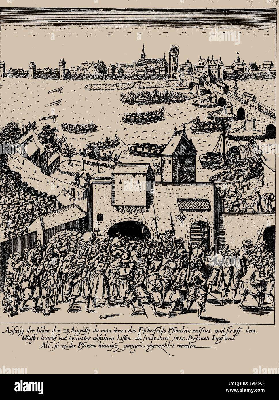 The Fettmilch Rising. Expulsion of the jews from Frankfurt on August 23, 1614. Museum: PRIVATE COLLECTION. Author: GEORG KELLER. - Stock Image