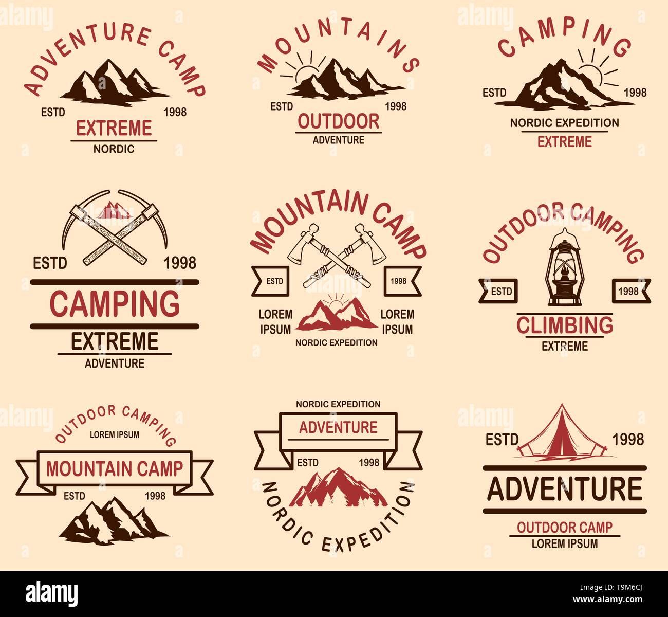 Set of mountain hiking emblems. Design element for logo, label, sign, banner, poster. Vector illustration - Stock Image