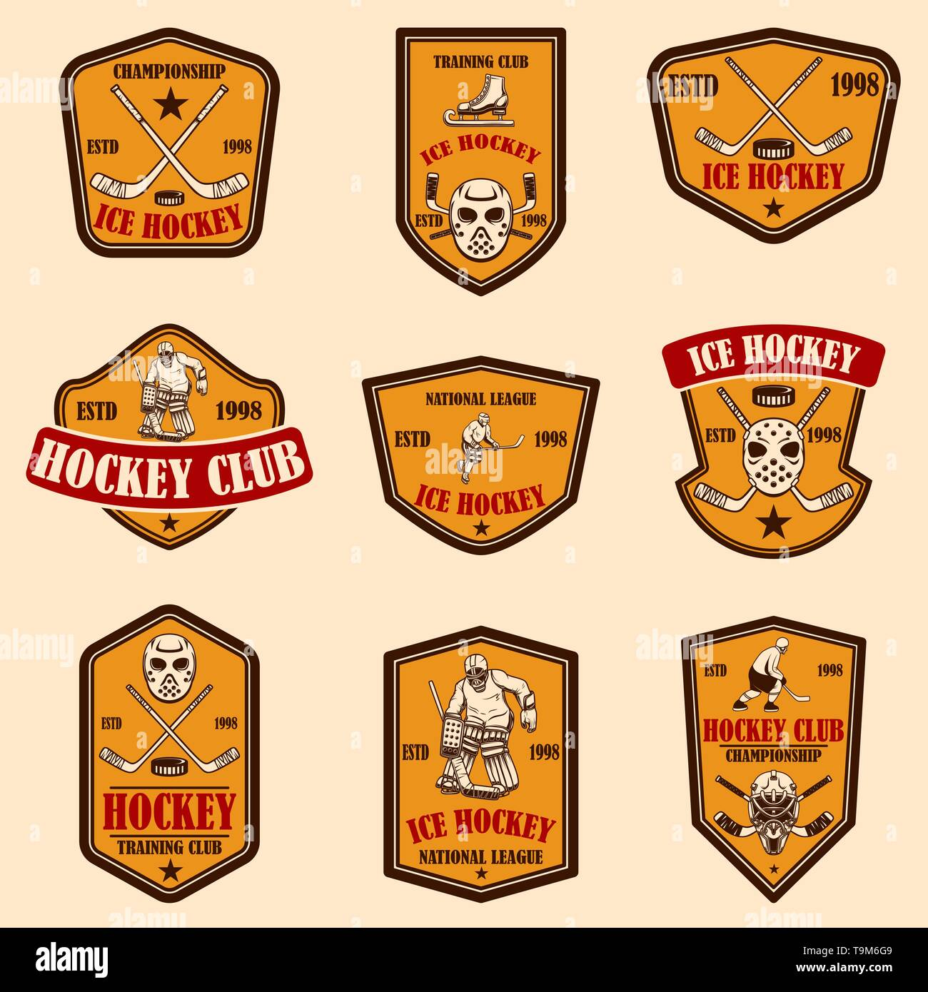 Set of hockey club emblems. Design element for logo, label, sign, poster, banner. Vector illustration - Stock Image
