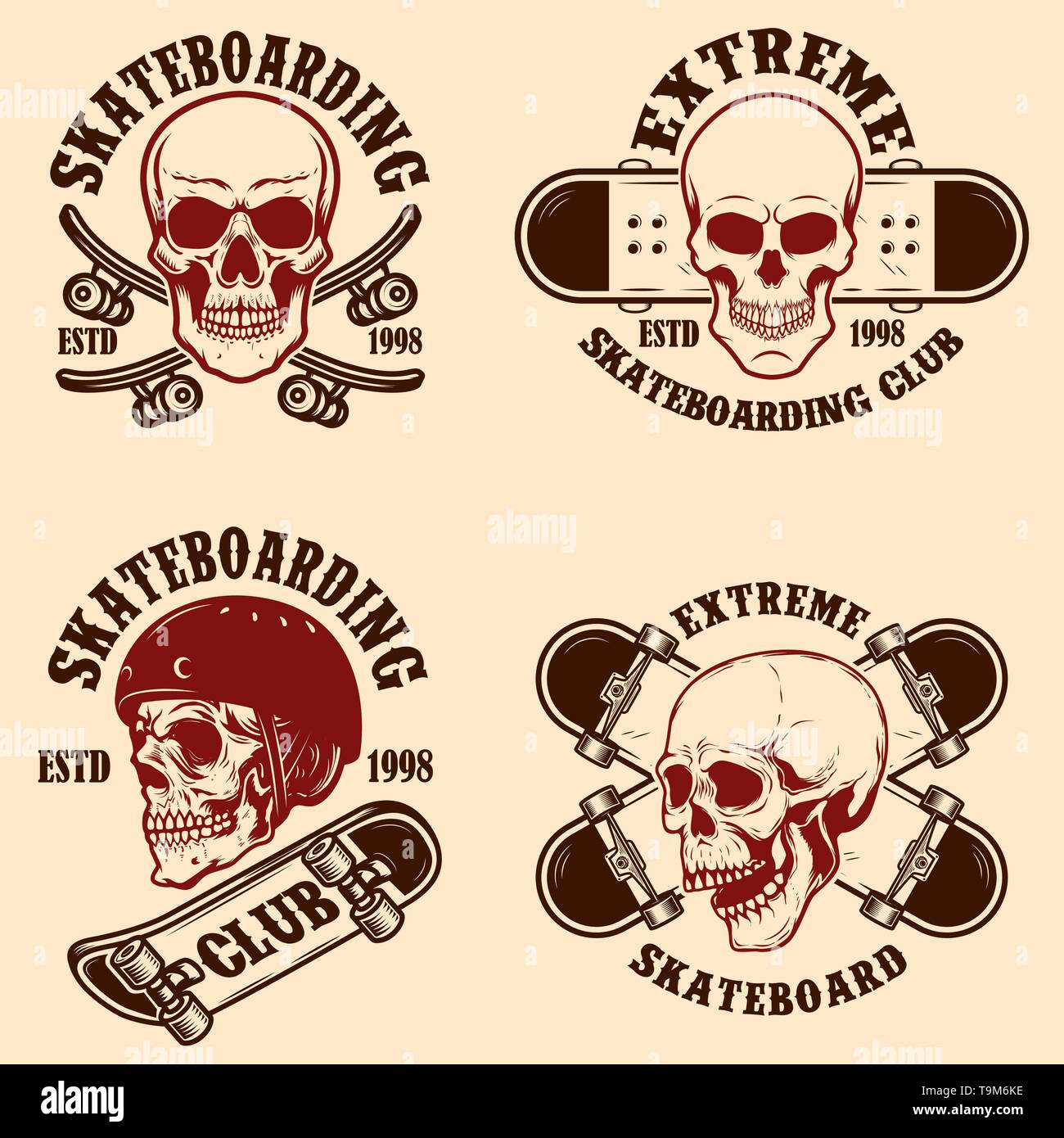 Set of skateboarding club emblems with skulls. Design element for poster, logo, sign, label, t shirt. Vector illustration - Stock Image