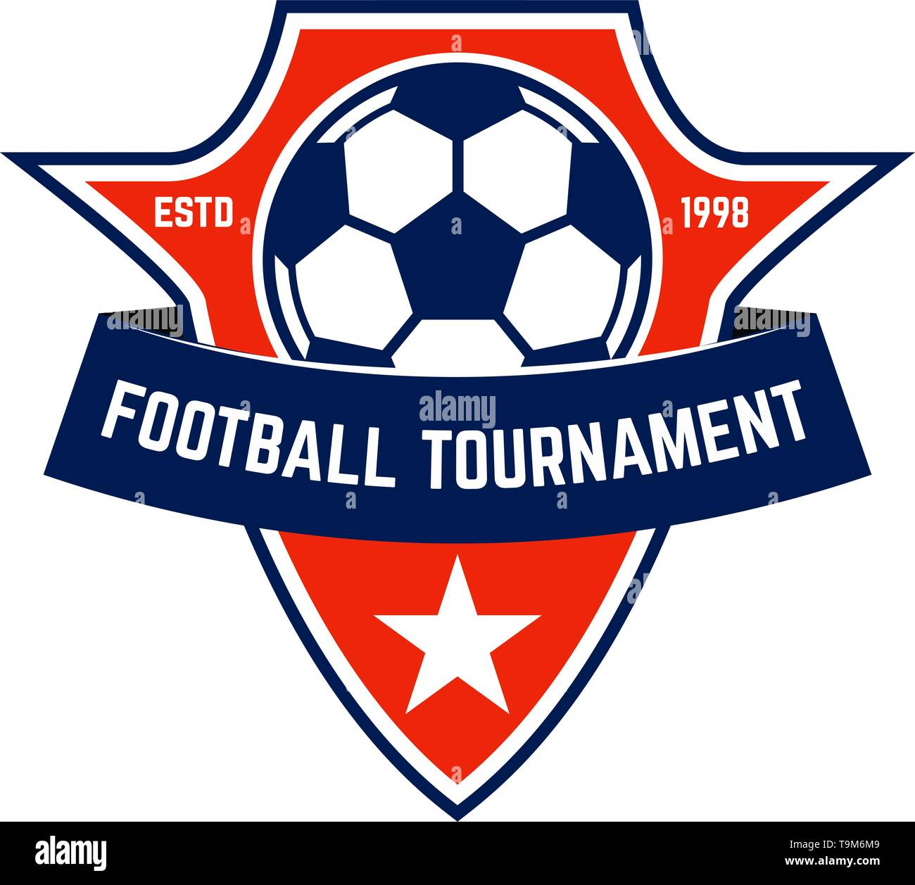 Soccer club emblem. Design element for logo, label, sign, poster. Vector illustration - Stock Image