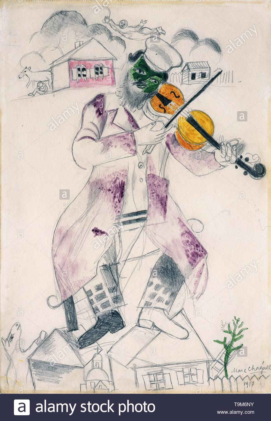 Music (Jewish Theatre). Museum: PRIVATE COLLECTION. Author: MARC CHAGALL. - Stock Image