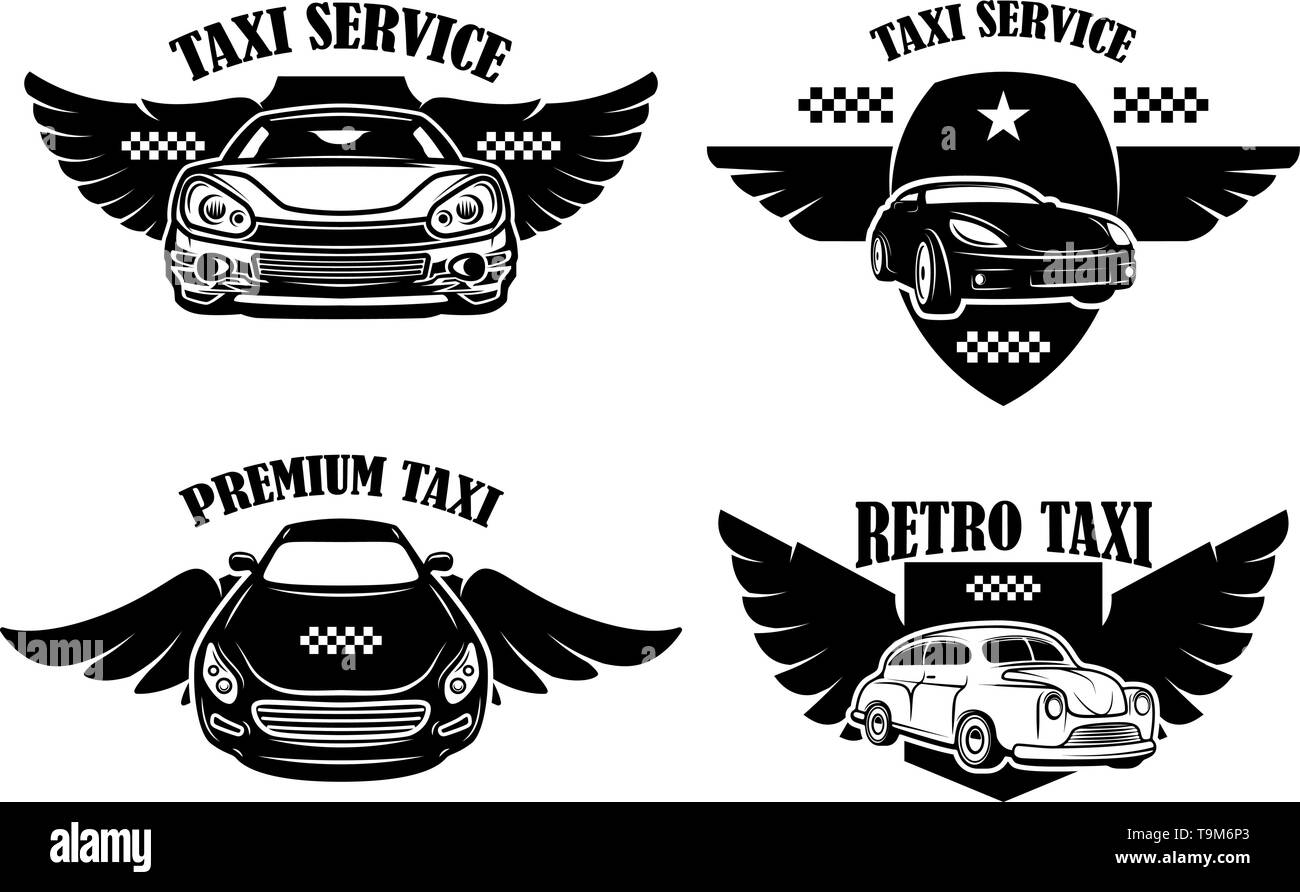 Set of taxi service emblems. Signs with winged taxi cars. Design element for logo, label, sign, poster. Vector illustration - Stock Image