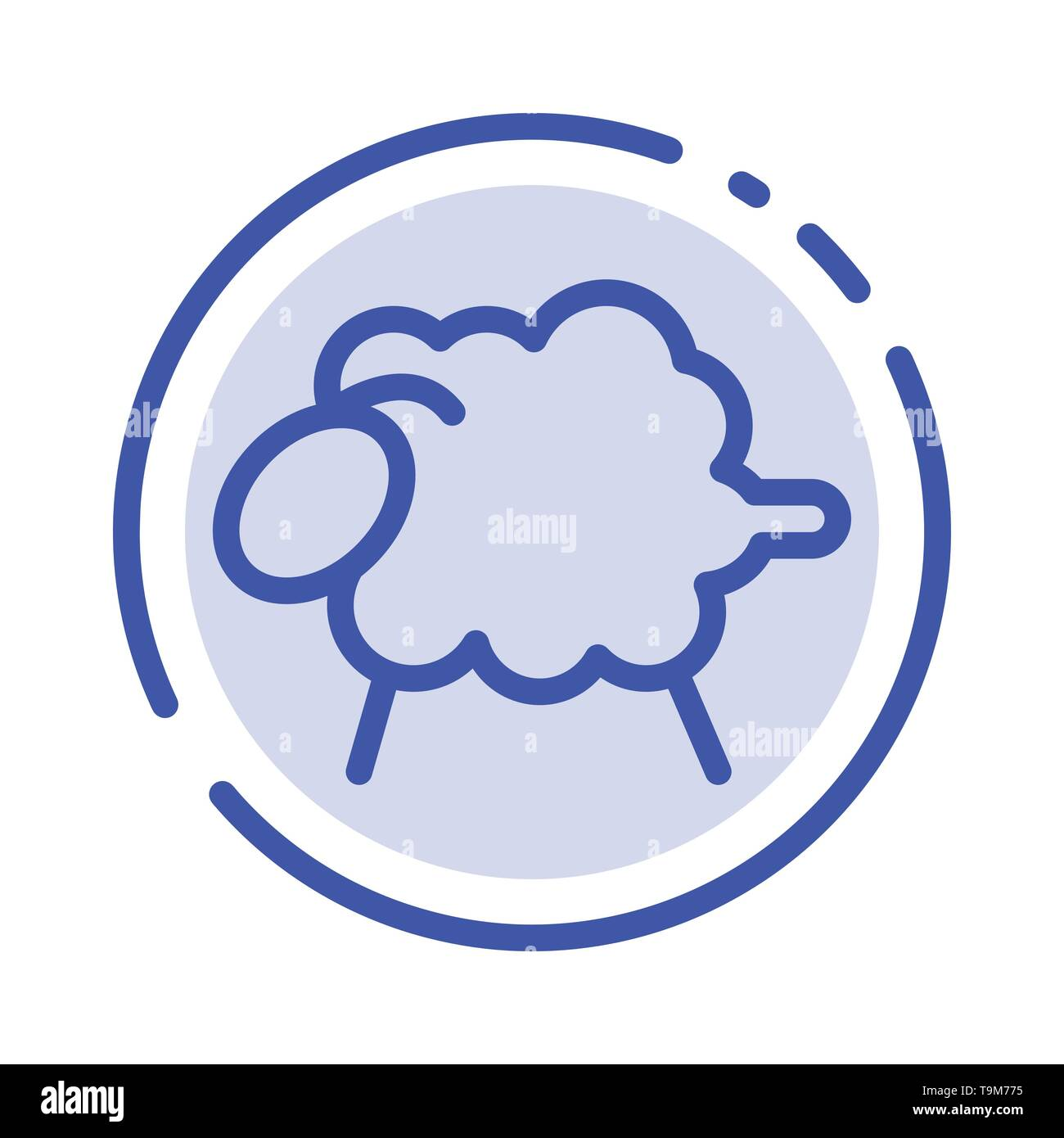 Lamb, Sheep, Wool, Easter Blue Dotted Line Line Icon - Stock Vector