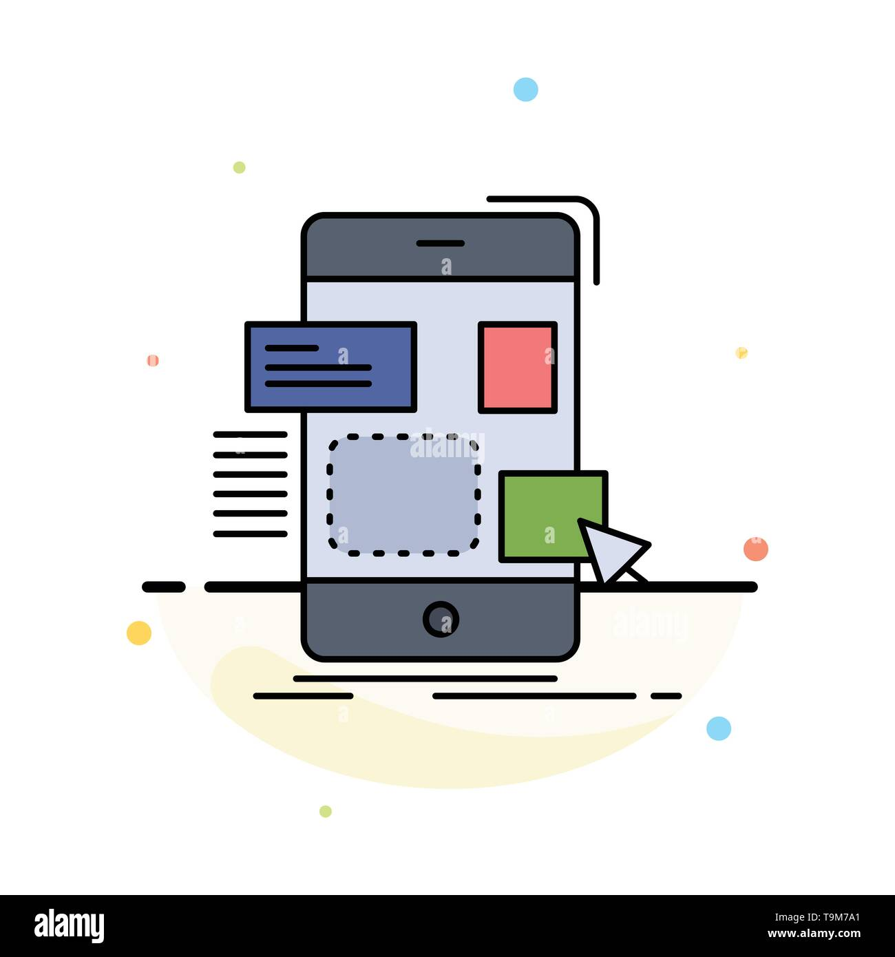 drag, mobile, design, ui, ux Flat Color Icon Vector - Stock Image