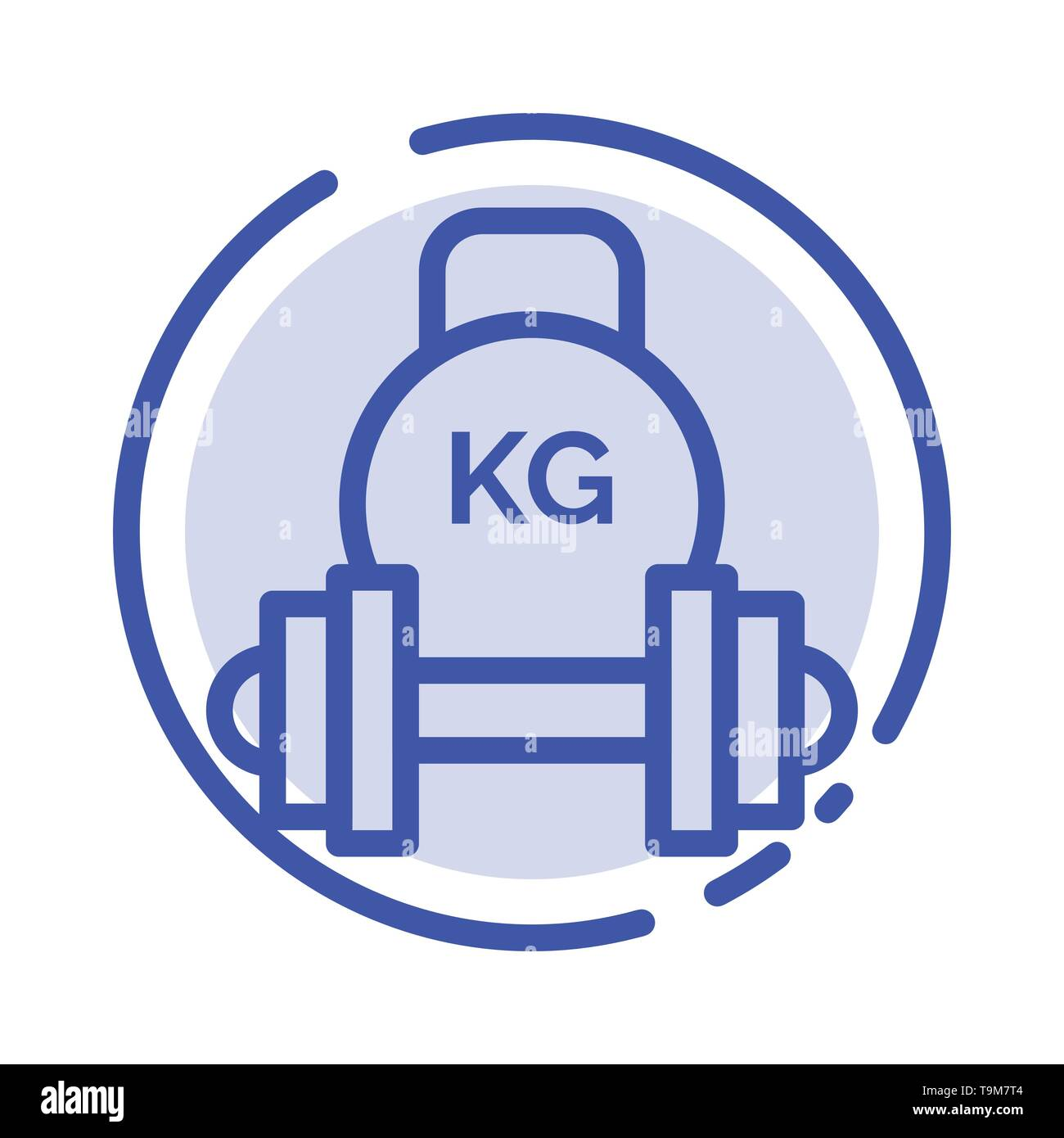 Barbell, Dumbbell, Equipment, Kettle bell, Weight Blue Dotted Line Line Icon - Stock Image