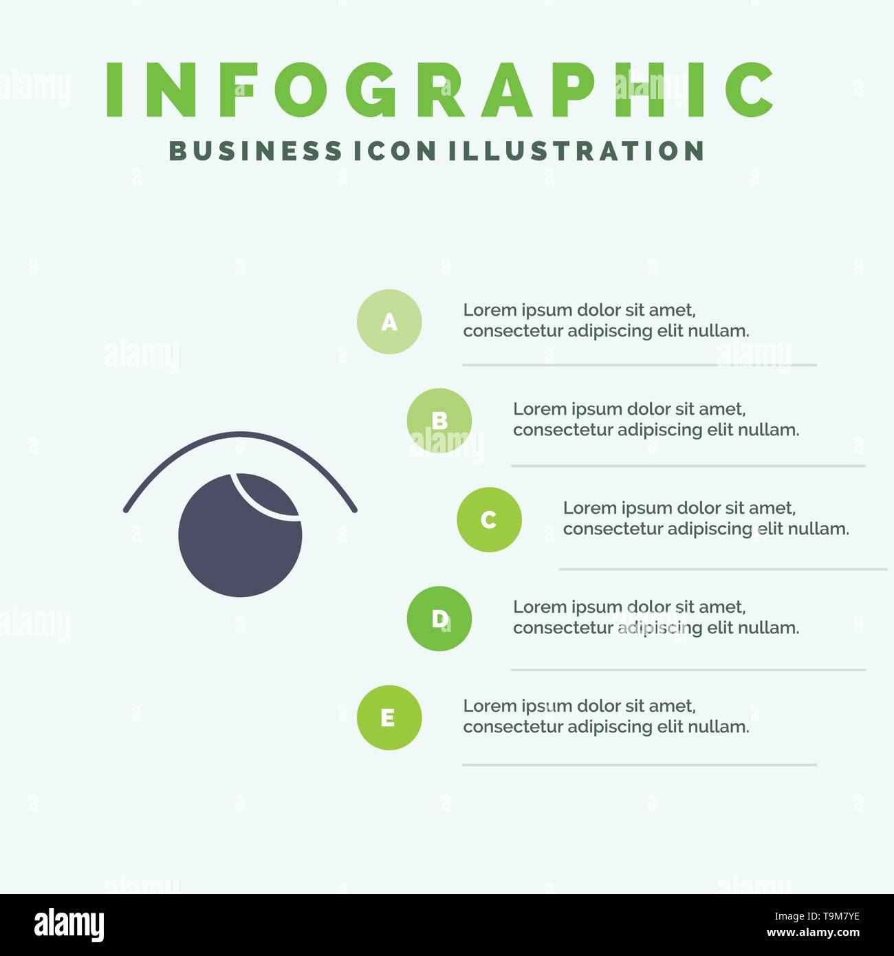 Eye, View, Watch, Twitter Solid Icon Infographics 5 Steps Presentation Background - Stock Image