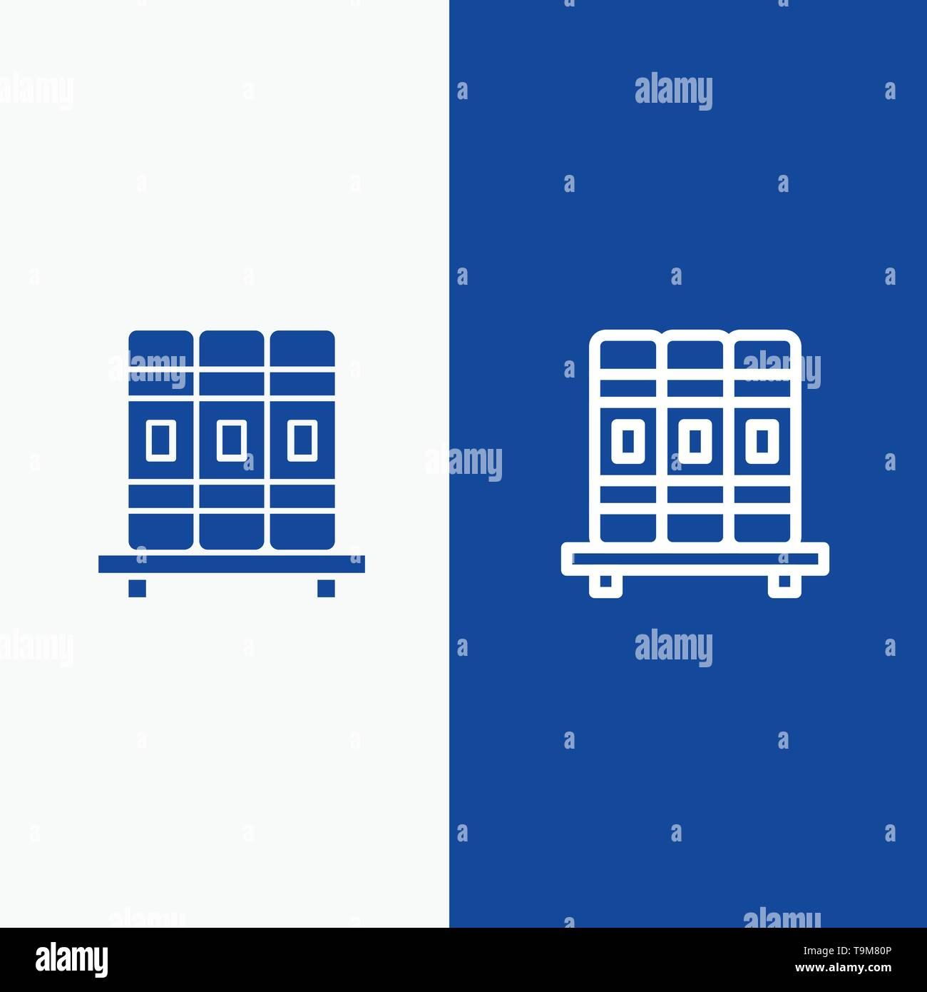Cupboard, Education, Studies Line and Glyph Solid icon Blue banner Line and Glyph Solid icon Blue banner - Stock Image