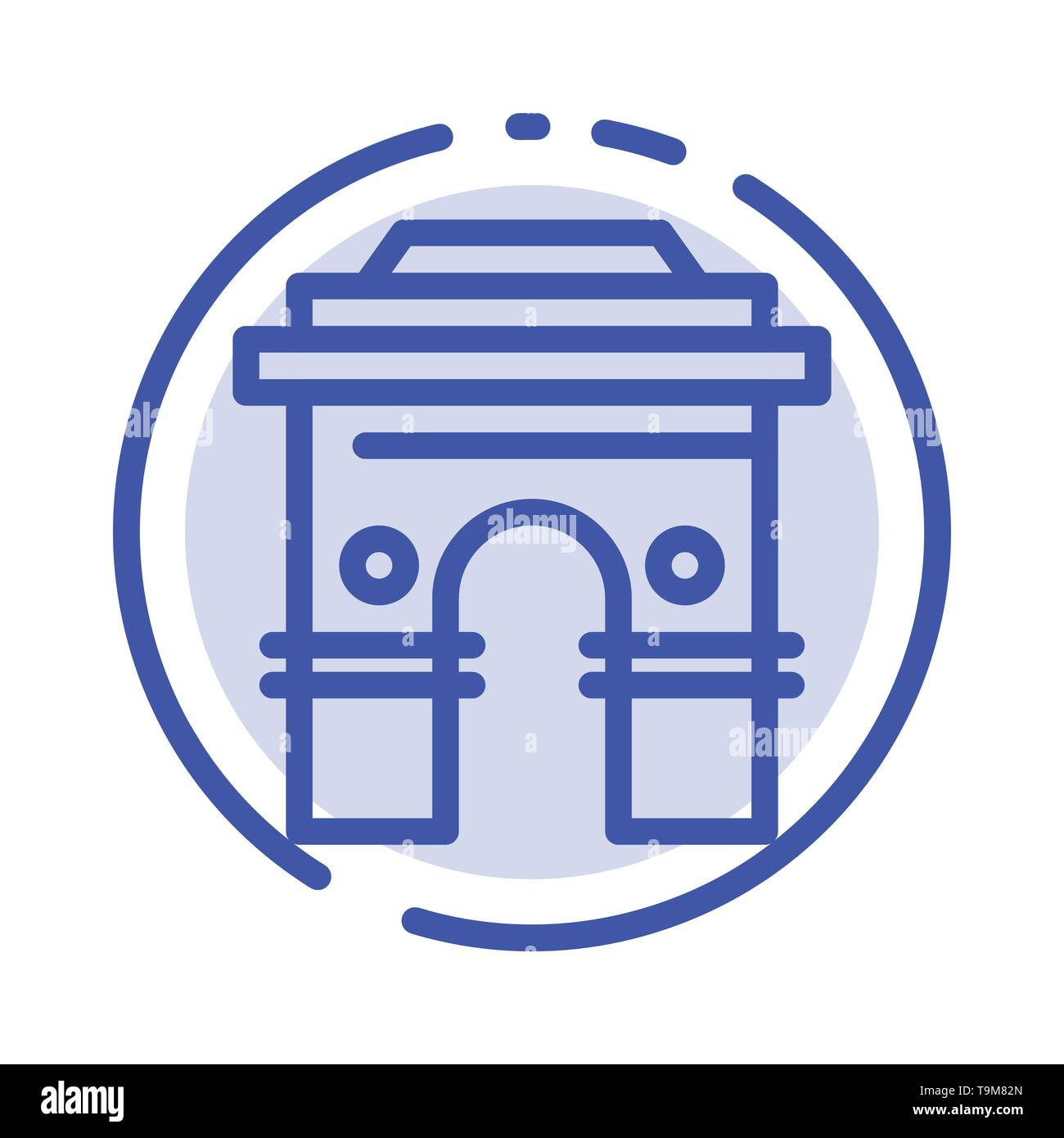 Culture, Global, Hinduism, India, Indian, Srilanka, Temple Blue Dotted Line Line Icon - Stock Image