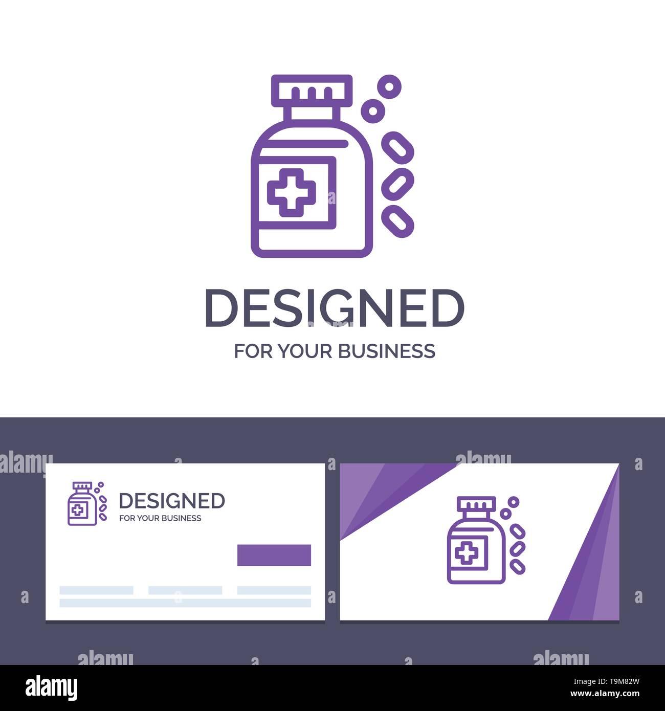 Creative Business Card and Logo template Bottle, Medicine, Tablet Vector Illustration - Stock Image
