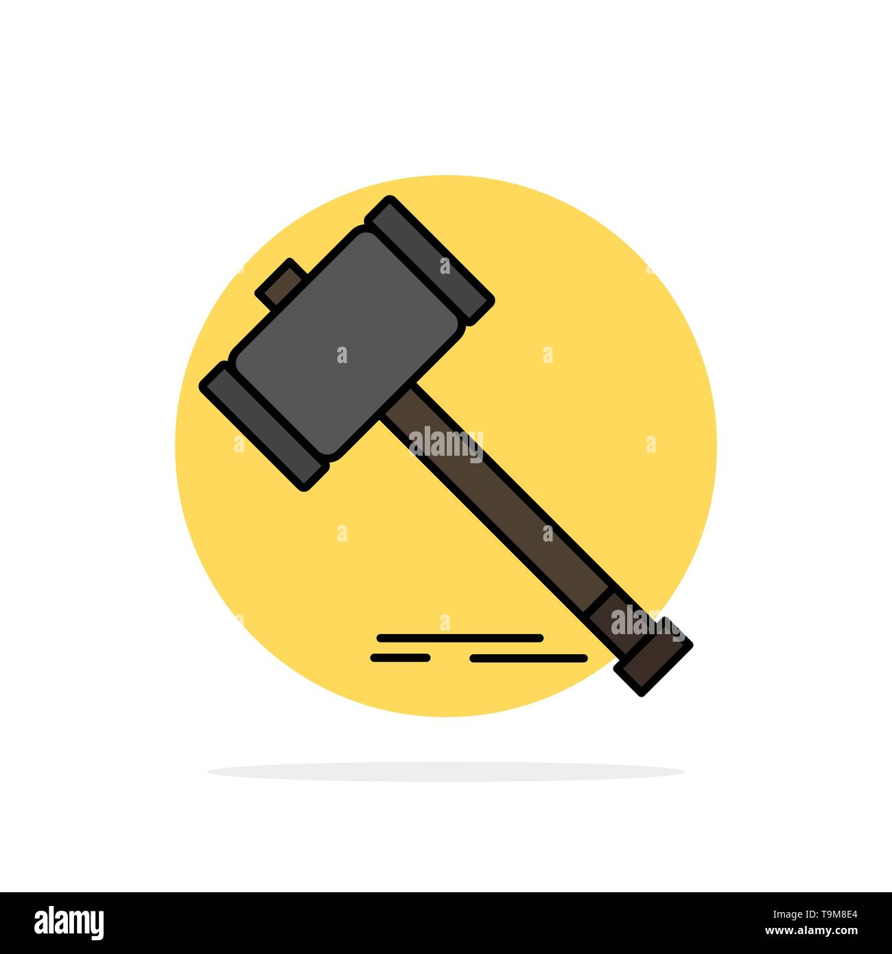 Action, Auction, Court, Gavel, Hammer, Law, Legal Abstract Circle Background Flat color Icon - Stock Image