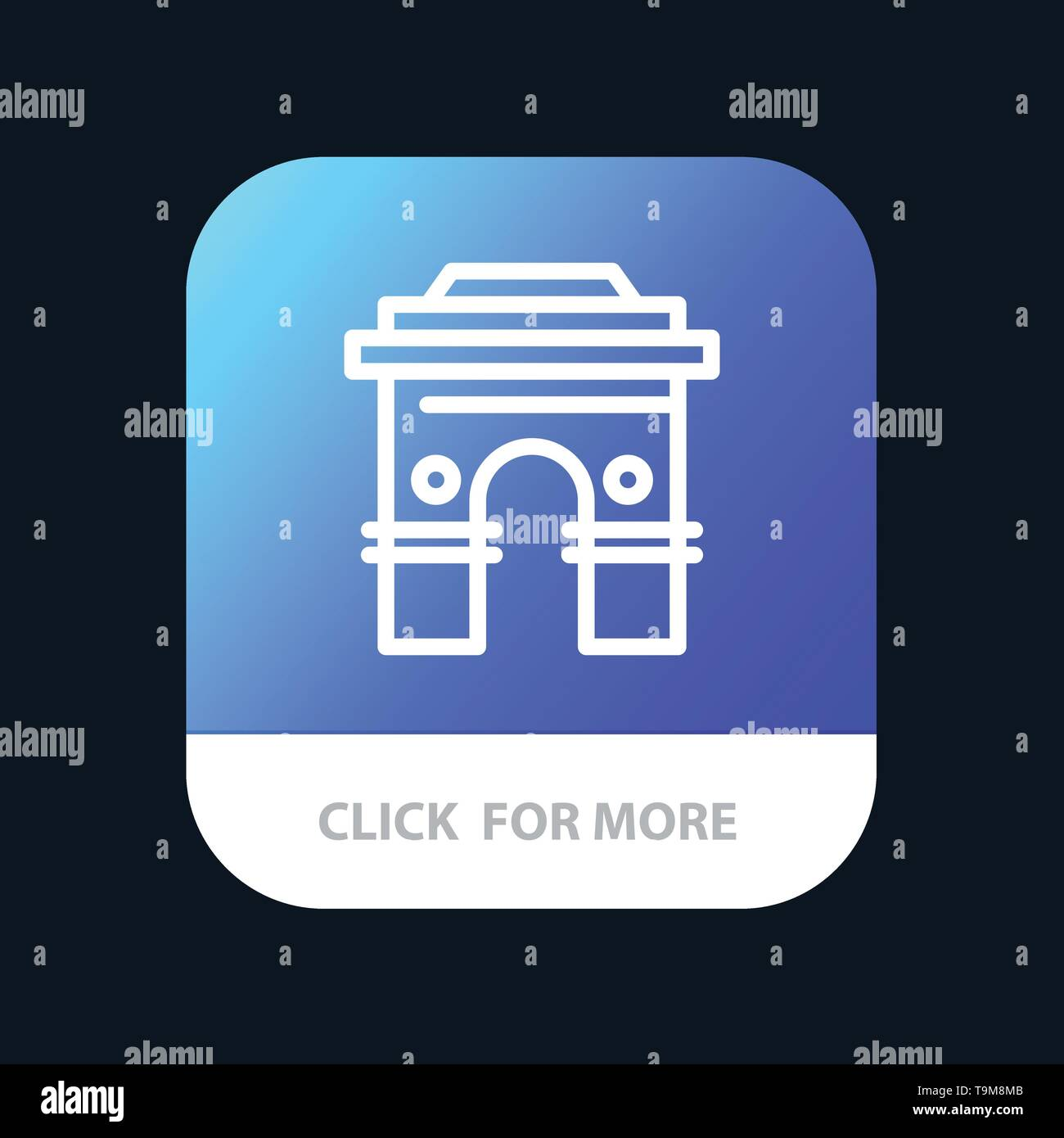 Culture, Global, Hinduism, India, Indian, Srilanka, Temple Mobile App Button. Android and IOS Line Version - Stock Image